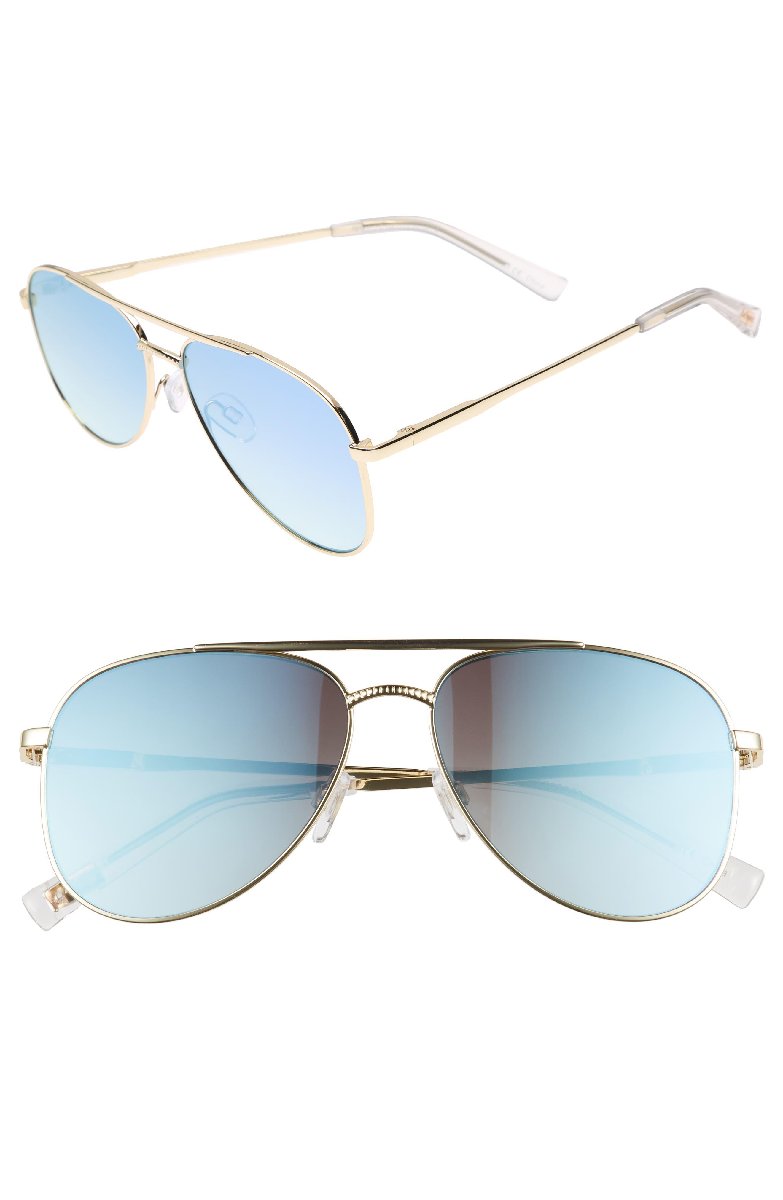Kingdom 57mm Polarized Aviator Sunglasses,                             Main thumbnail 1, color,                             Bright Gold