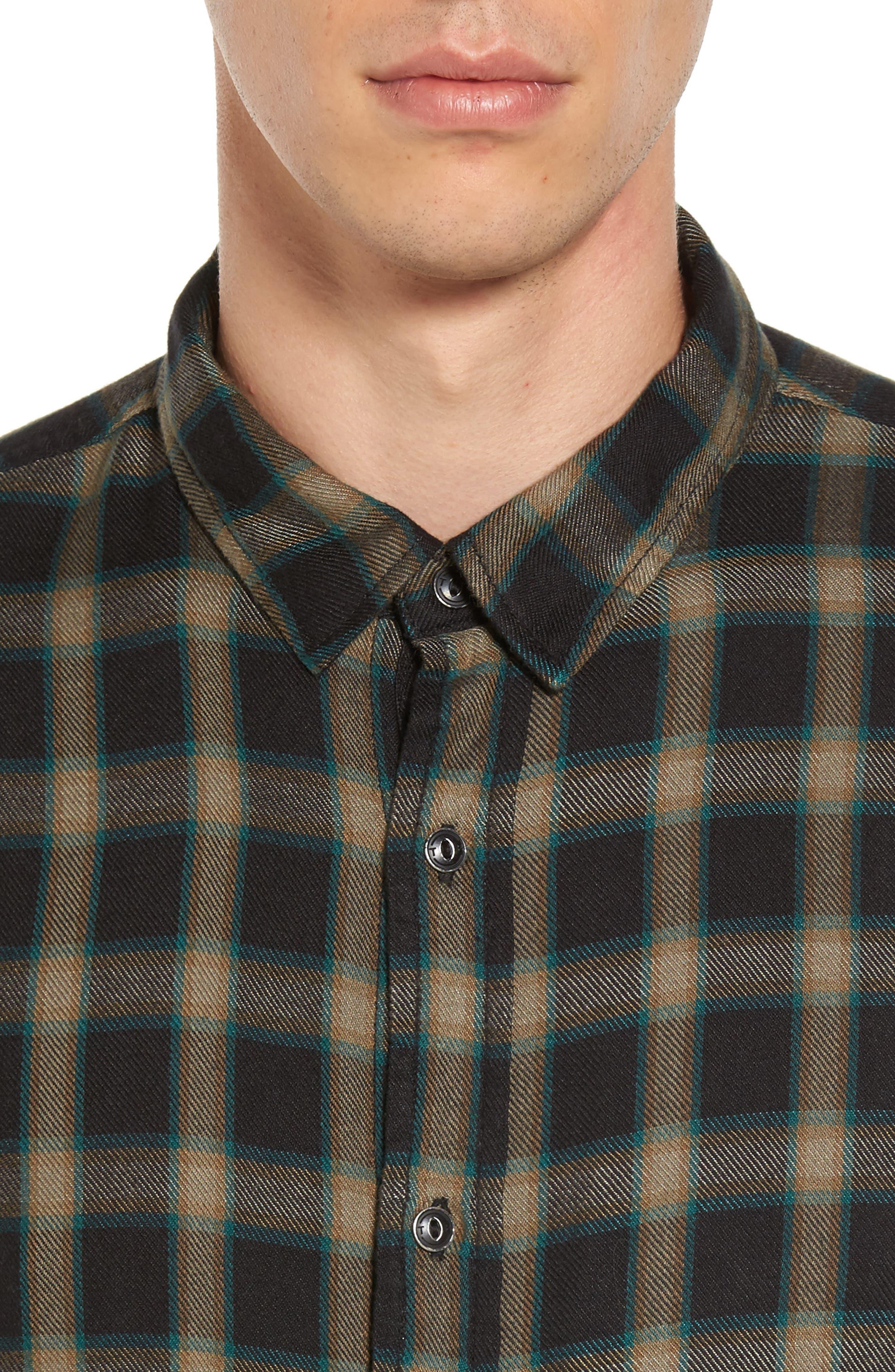 Virgil Plaid Sport Shirt,                             Alternate thumbnail 4, color,                             Black Rock Green Edocha Plaid
