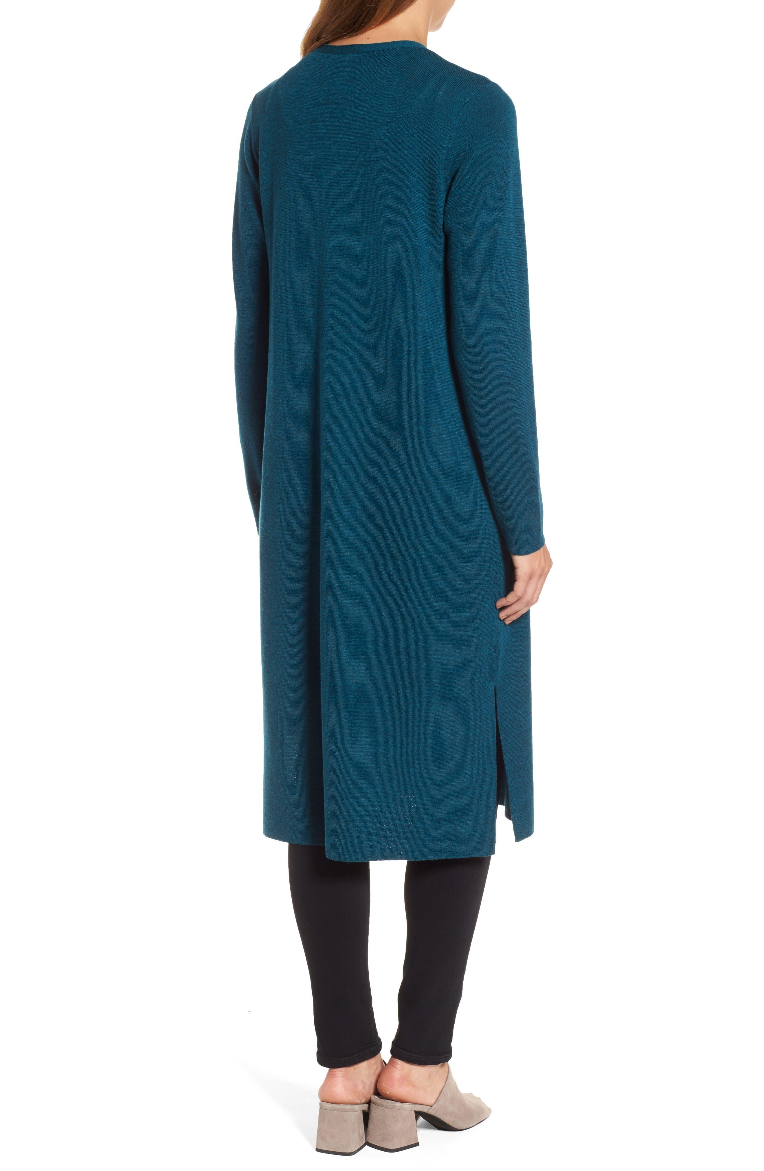 Long Merino Wool Cardigan,                             Alternate thumbnail 2, color,                             Blue Spruce