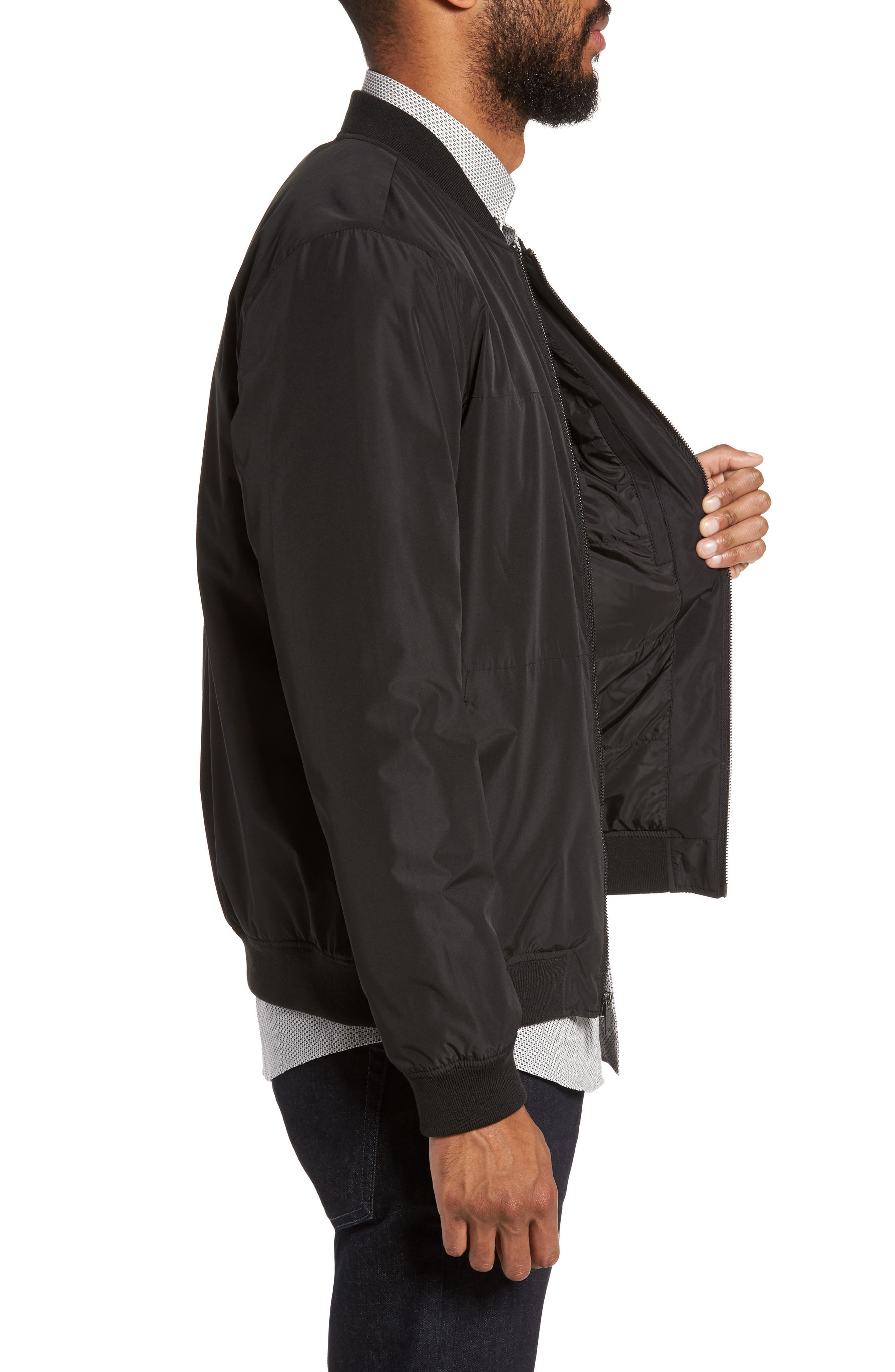 Lightweight Bomber Jacket,                             Alternate thumbnail 3, color,                             Black