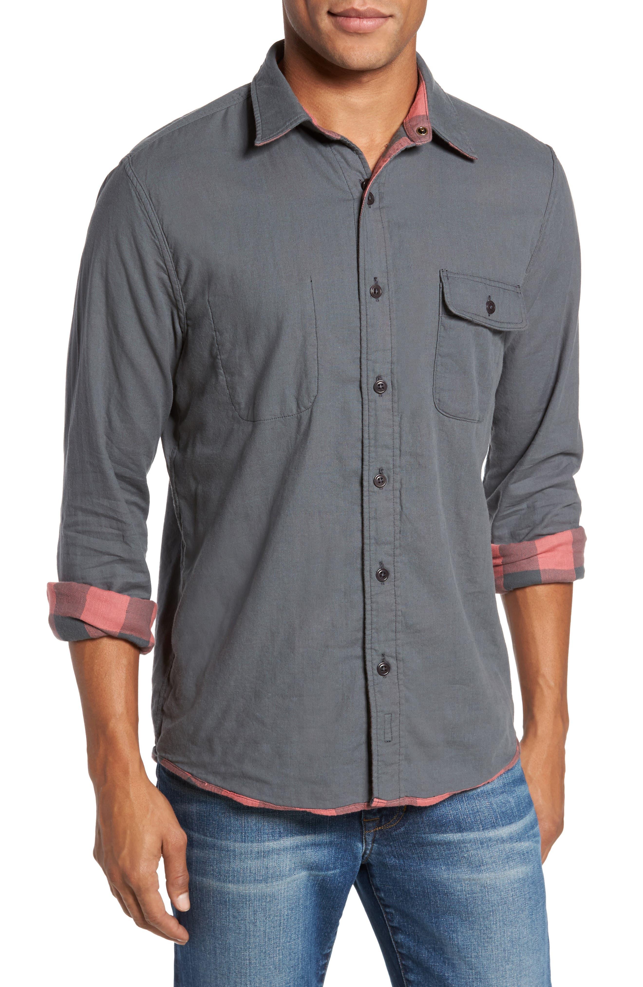 Belmar Trim Fit Long Sleeve Reversible Sport Shirt,                             Alternate thumbnail 4, color,                             Grey / Red Buffalo Check