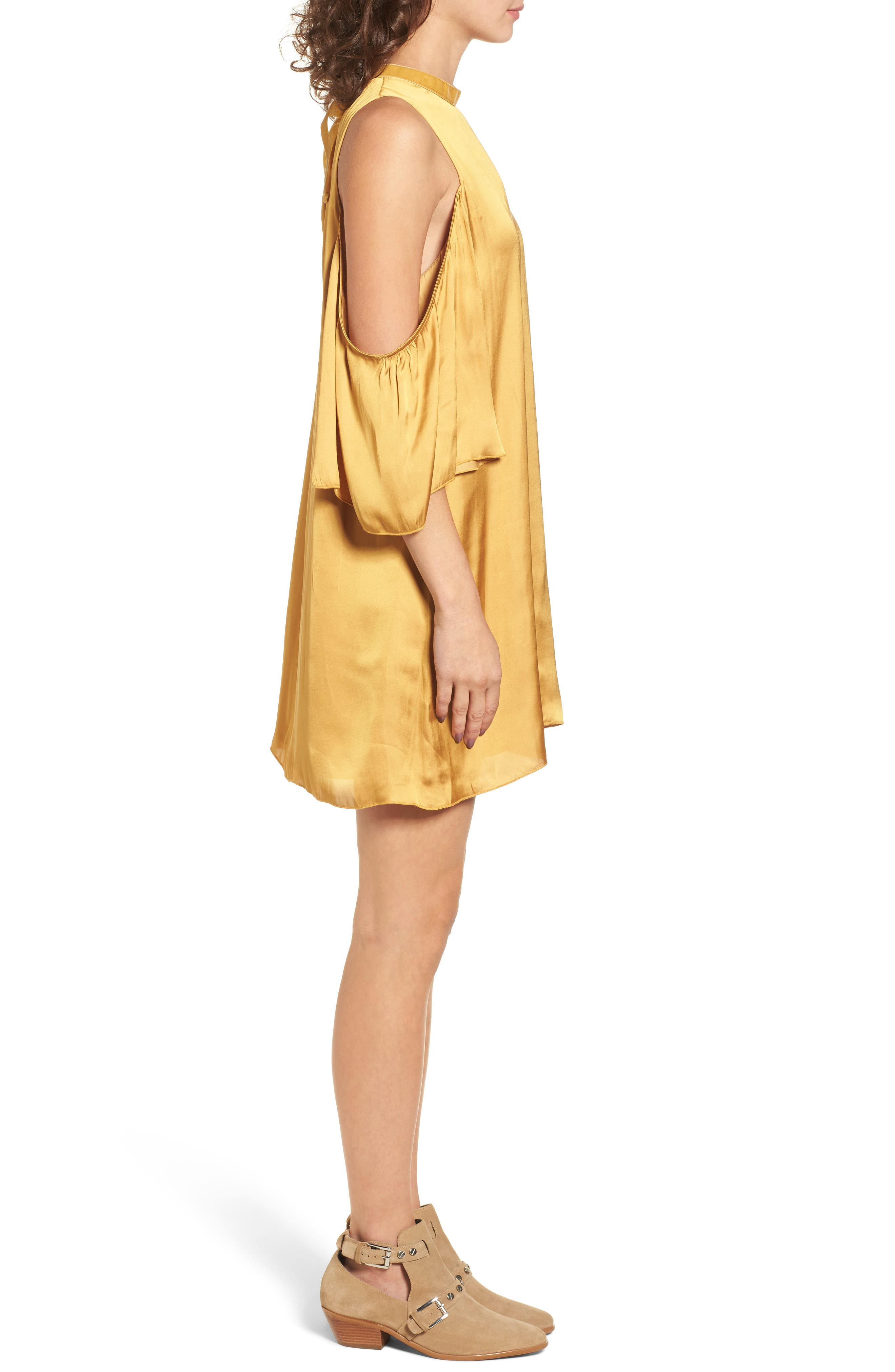 Rablo Cold Shoulder Satin Dress,                             Alternate thumbnail 3, color,                             Marigold