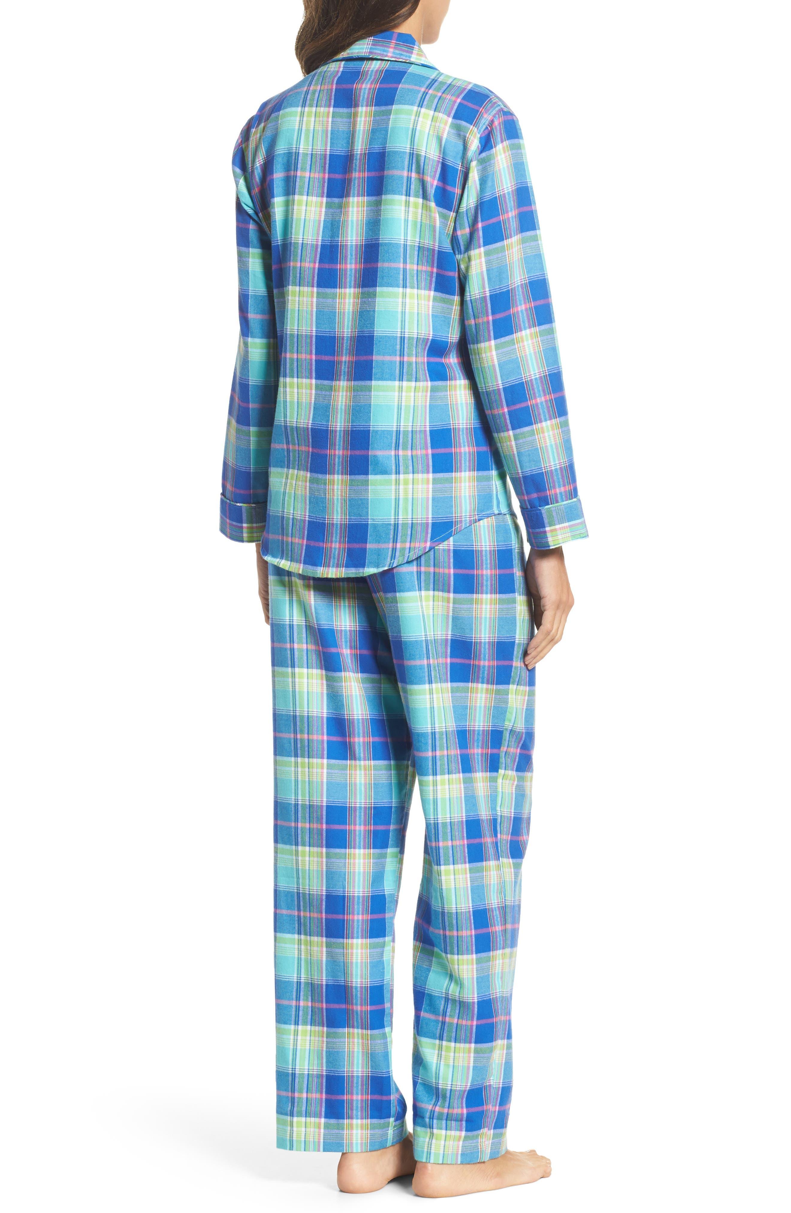 Notch Collar Pajamas,                             Alternate thumbnail 2, color,                             Turquoise Multi Plaid