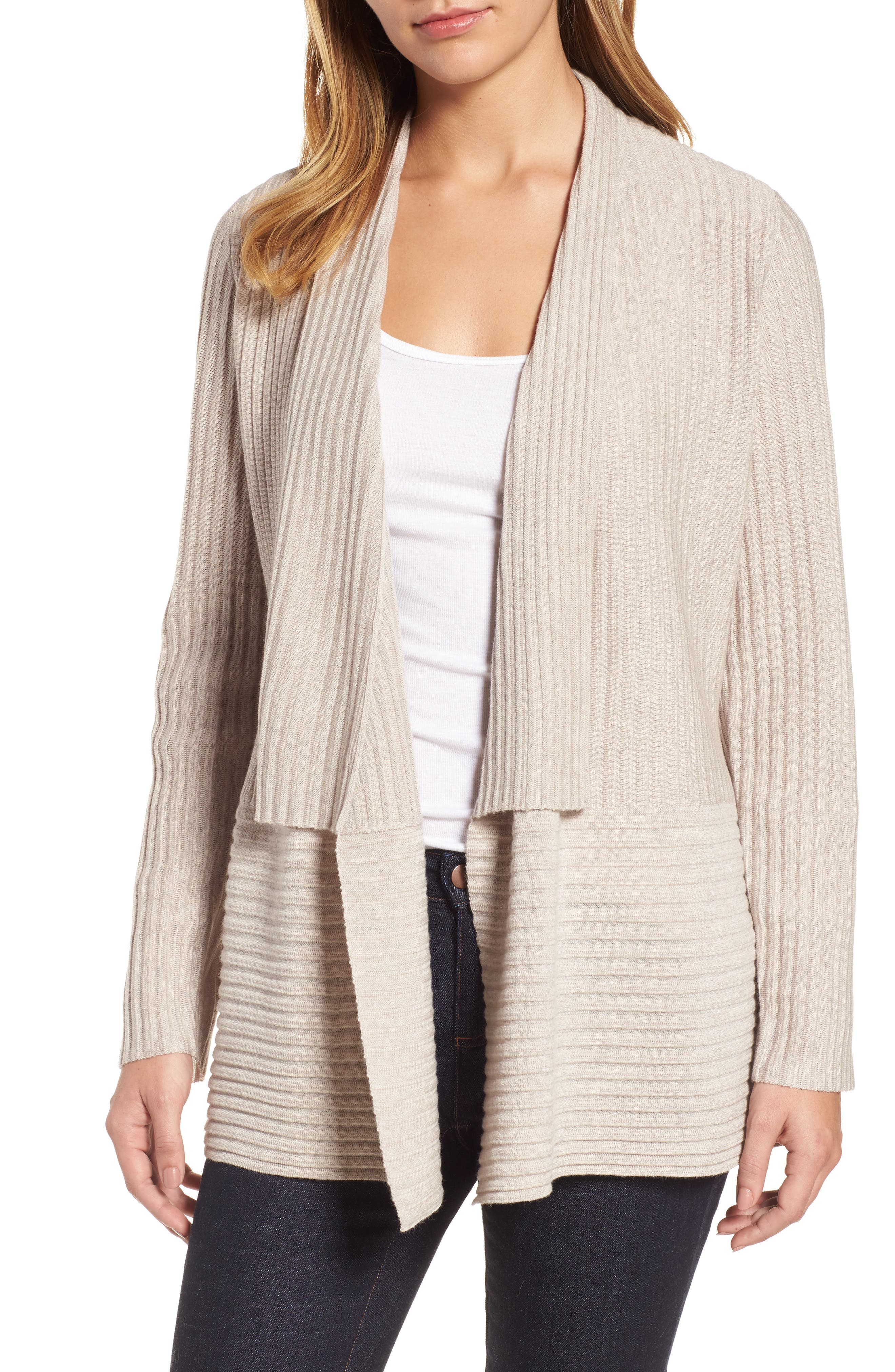Ribbed Merino Wool Long Cardigan,                         Main,                         color, Maple Oat
