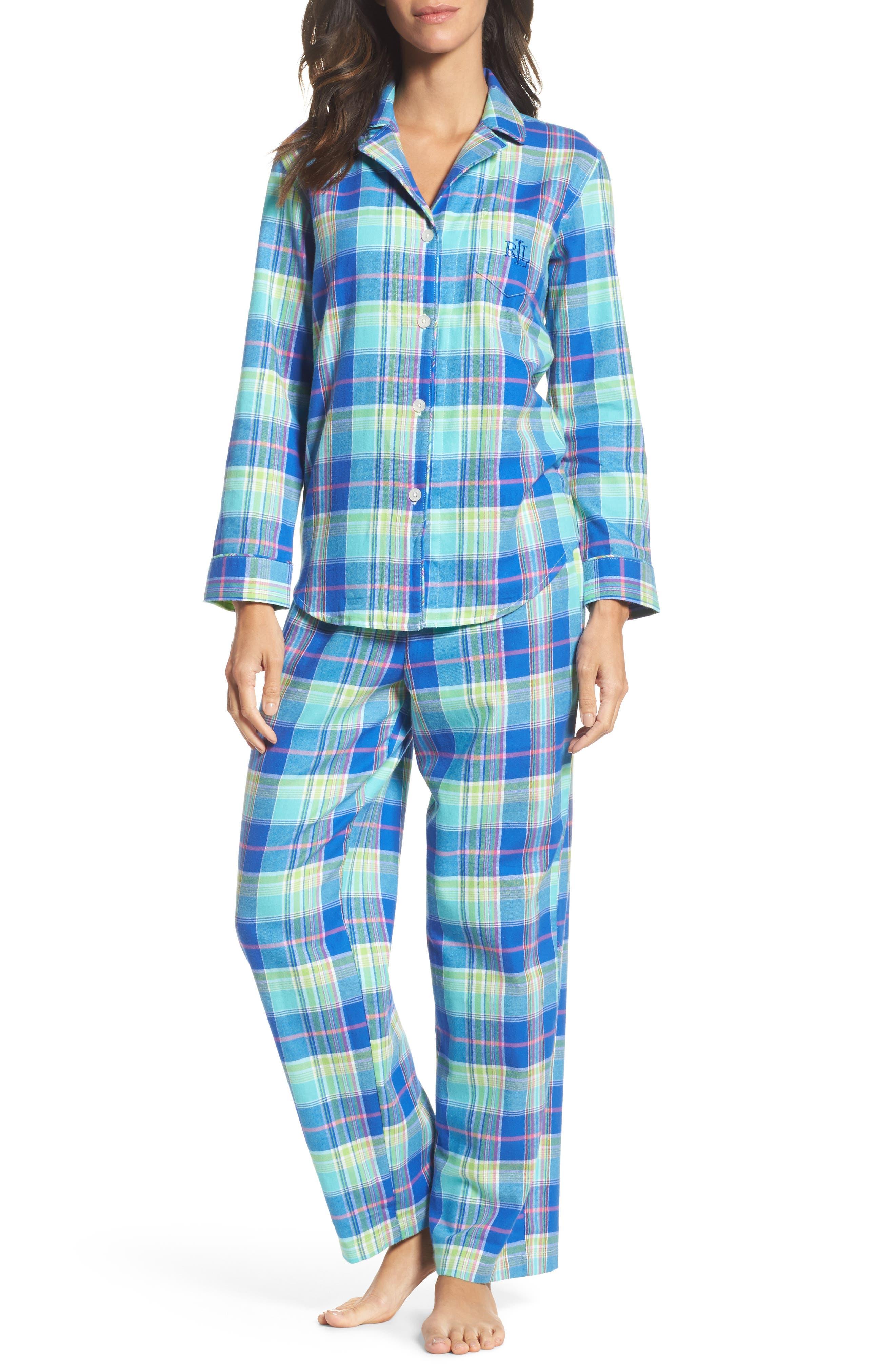 Notch Collar Pajamas,                             Main thumbnail 1, color,                             Turquoise Multi Plaid