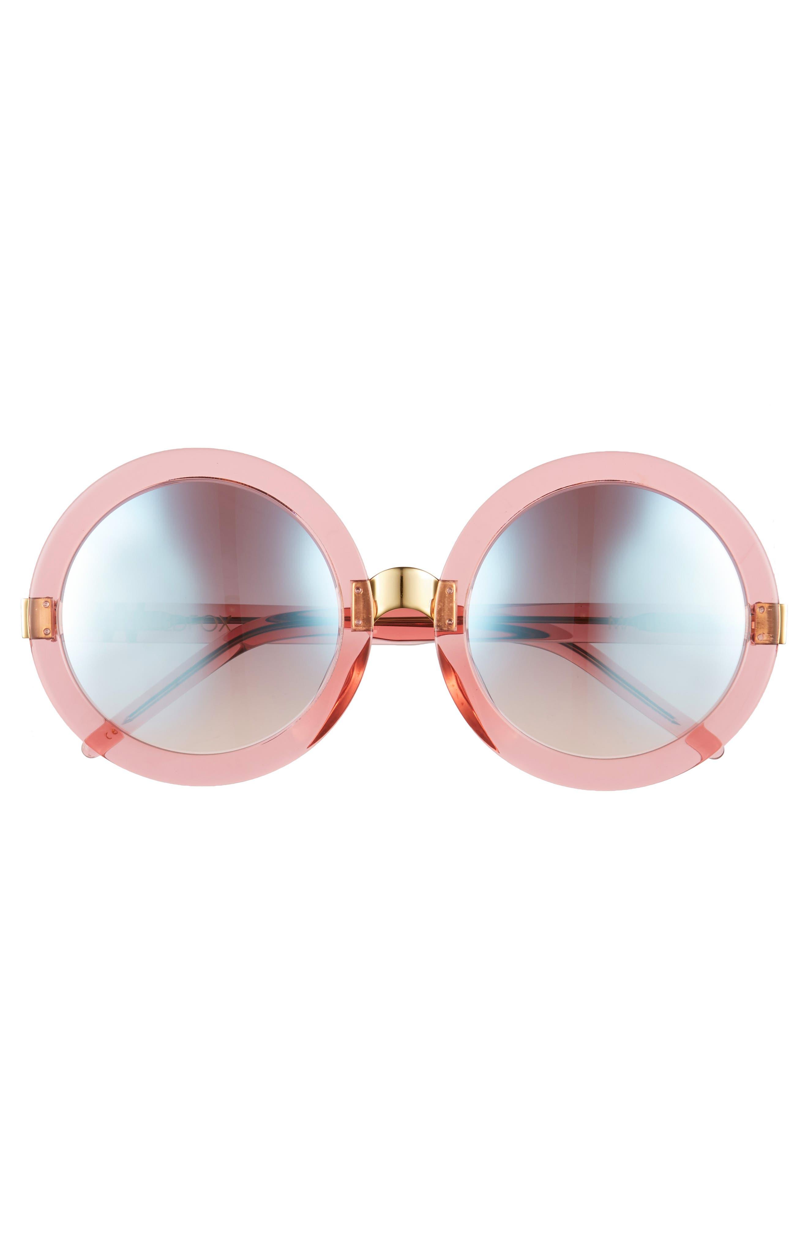 'Malibu Deluxe' 55mm Retro Sunglasses,                             Alternate thumbnail 3, color,                             Rosewater/ Silver Mirror