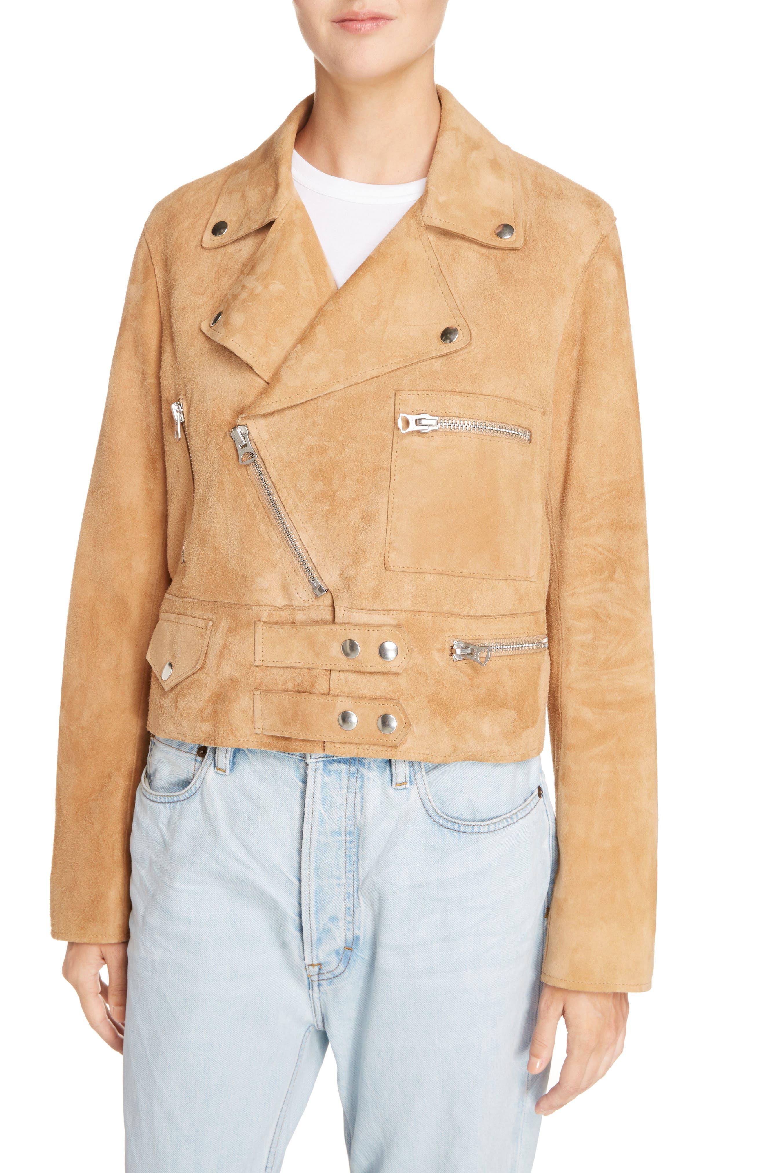 Suokki Suede Moto Jacket,                             Alternate thumbnail 4, color,                             Camel Brown
