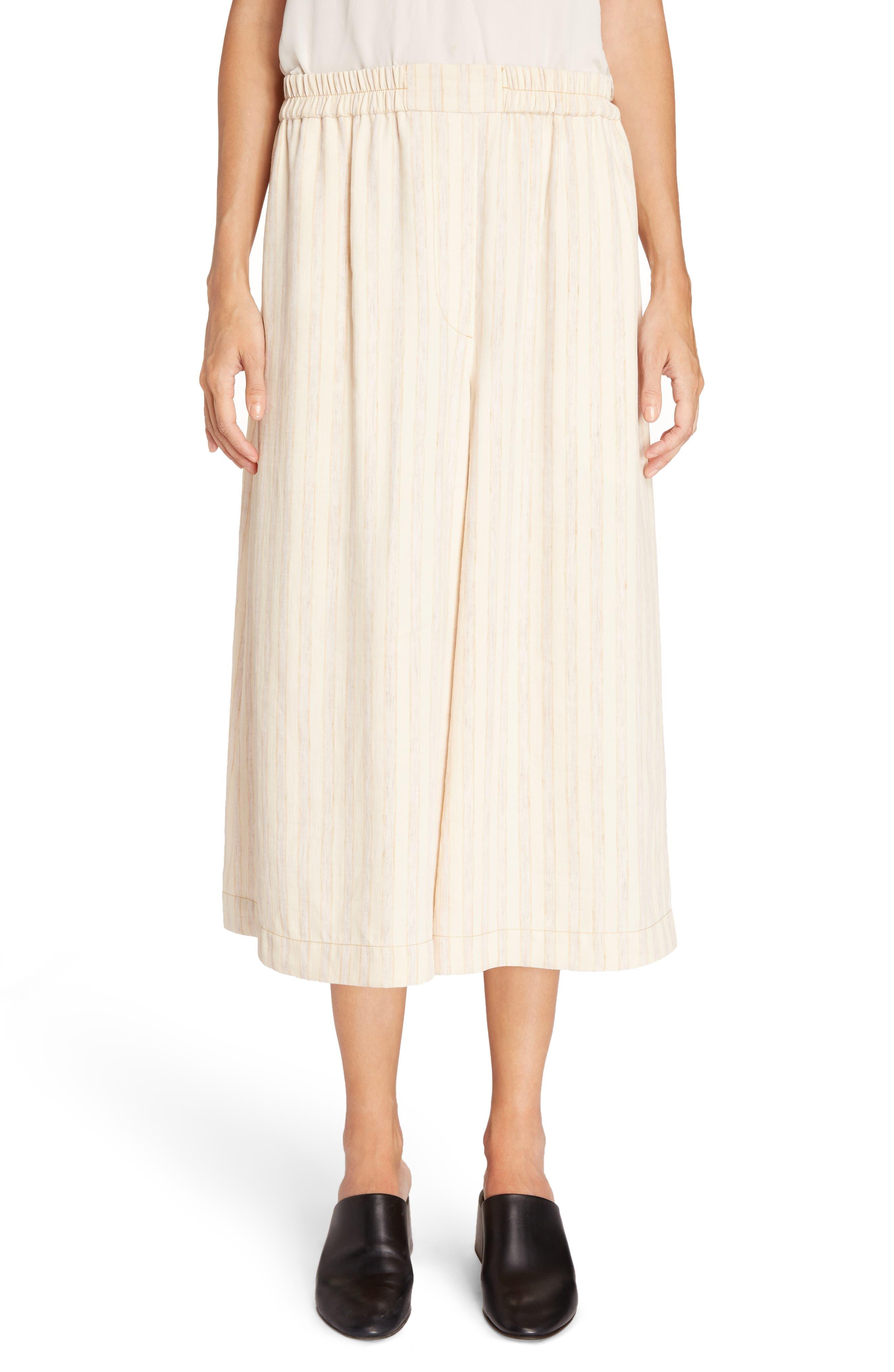 Michela Linen Blend Culottes,                         Main,                         color, Natural/ Beige Mix