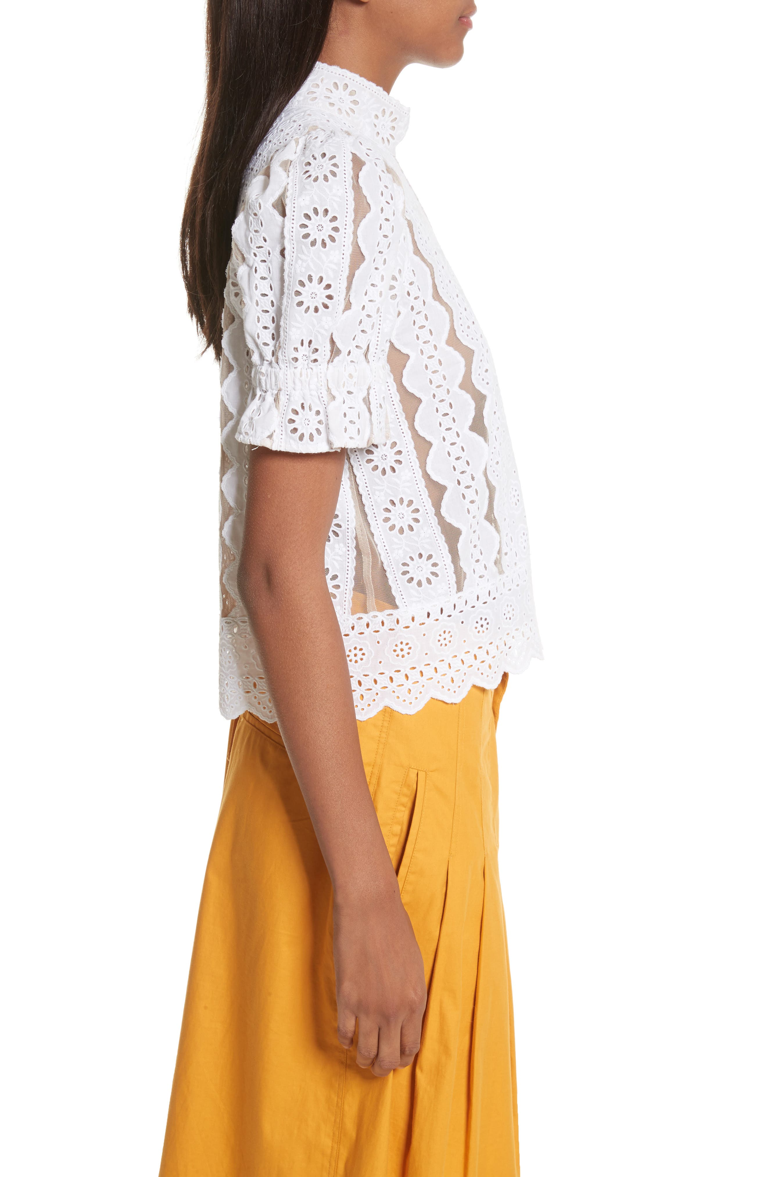 Luna Cotton Eyelet Top,                             Alternate thumbnail 3, color,                             White With Nude Mesh