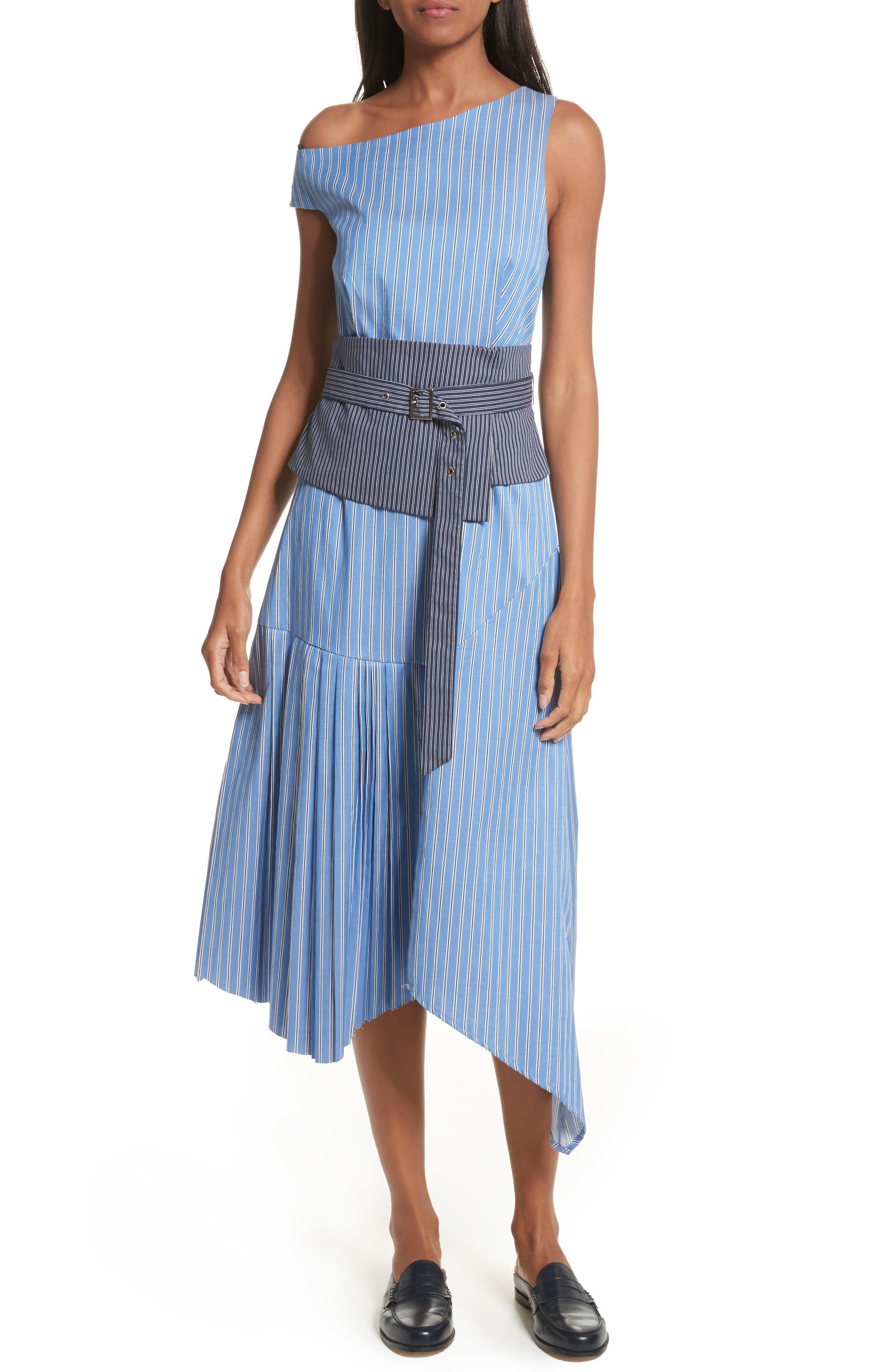 Belted Asymmetrical Midi Dress,                         Main,                         color, Blue Multi