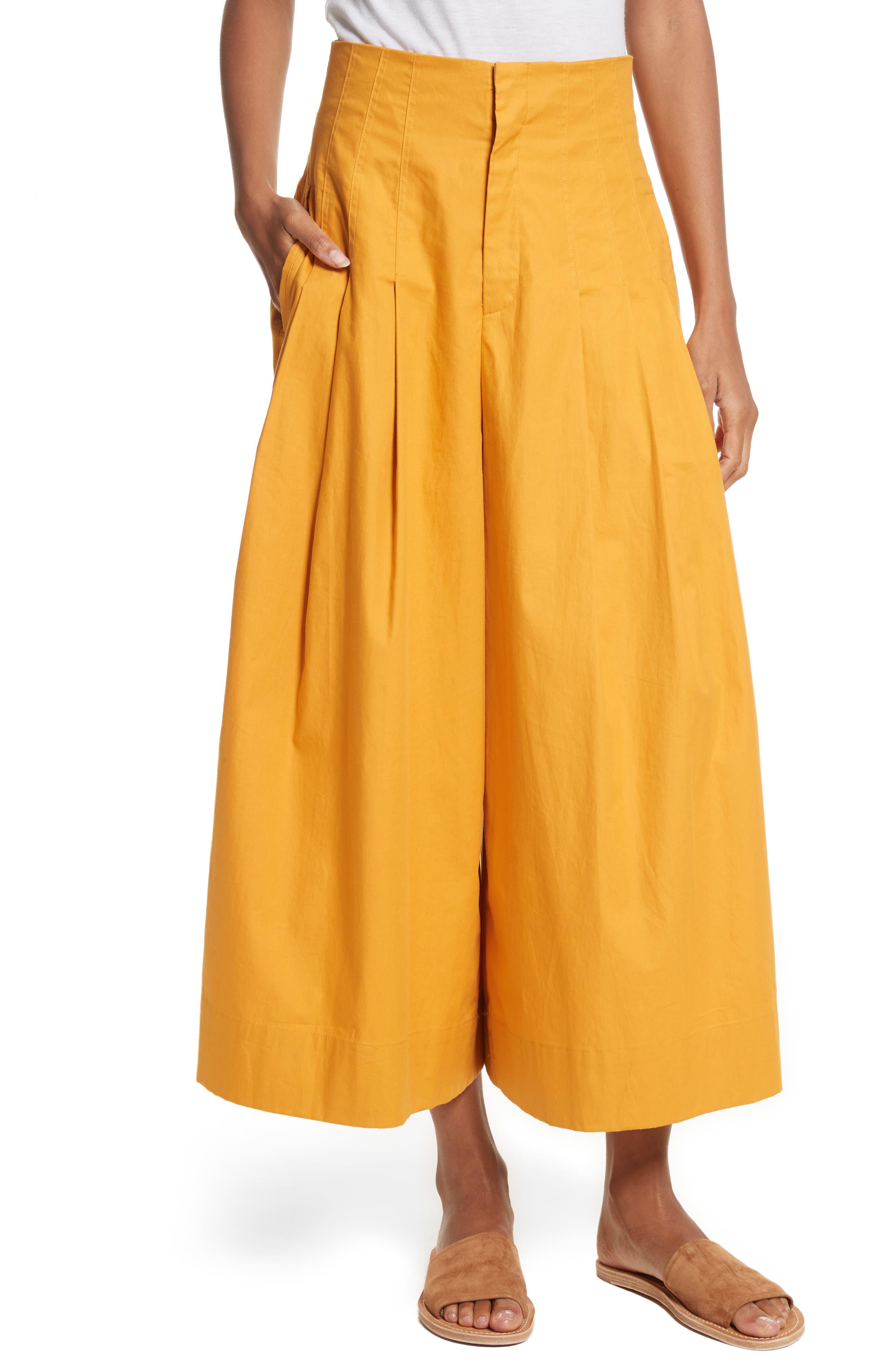 Corset Waist Culottes,                         Main,                         color, Tangerine