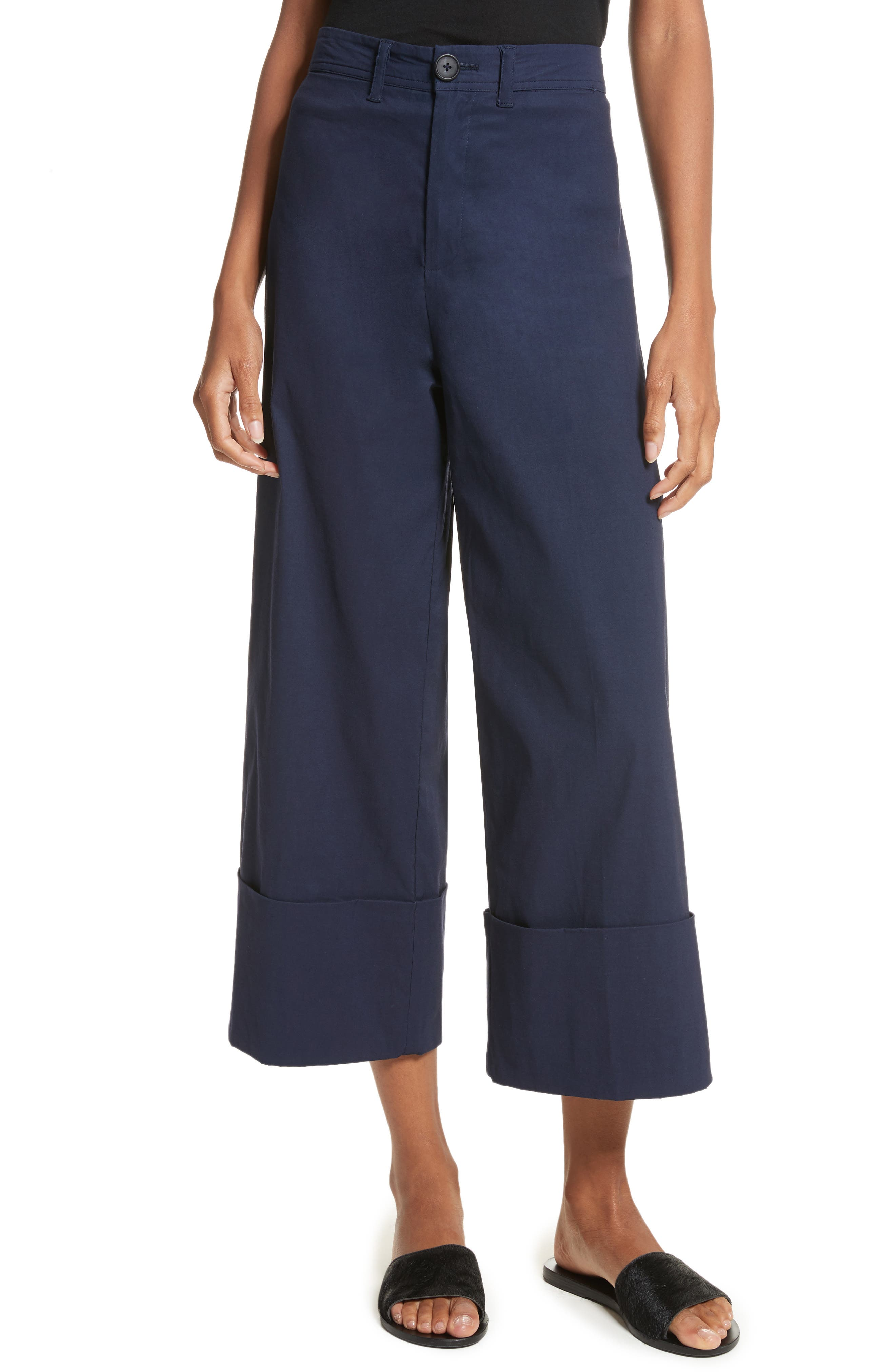 Cuffed Wide Leg Pants,                         Main,                         color, Navy
