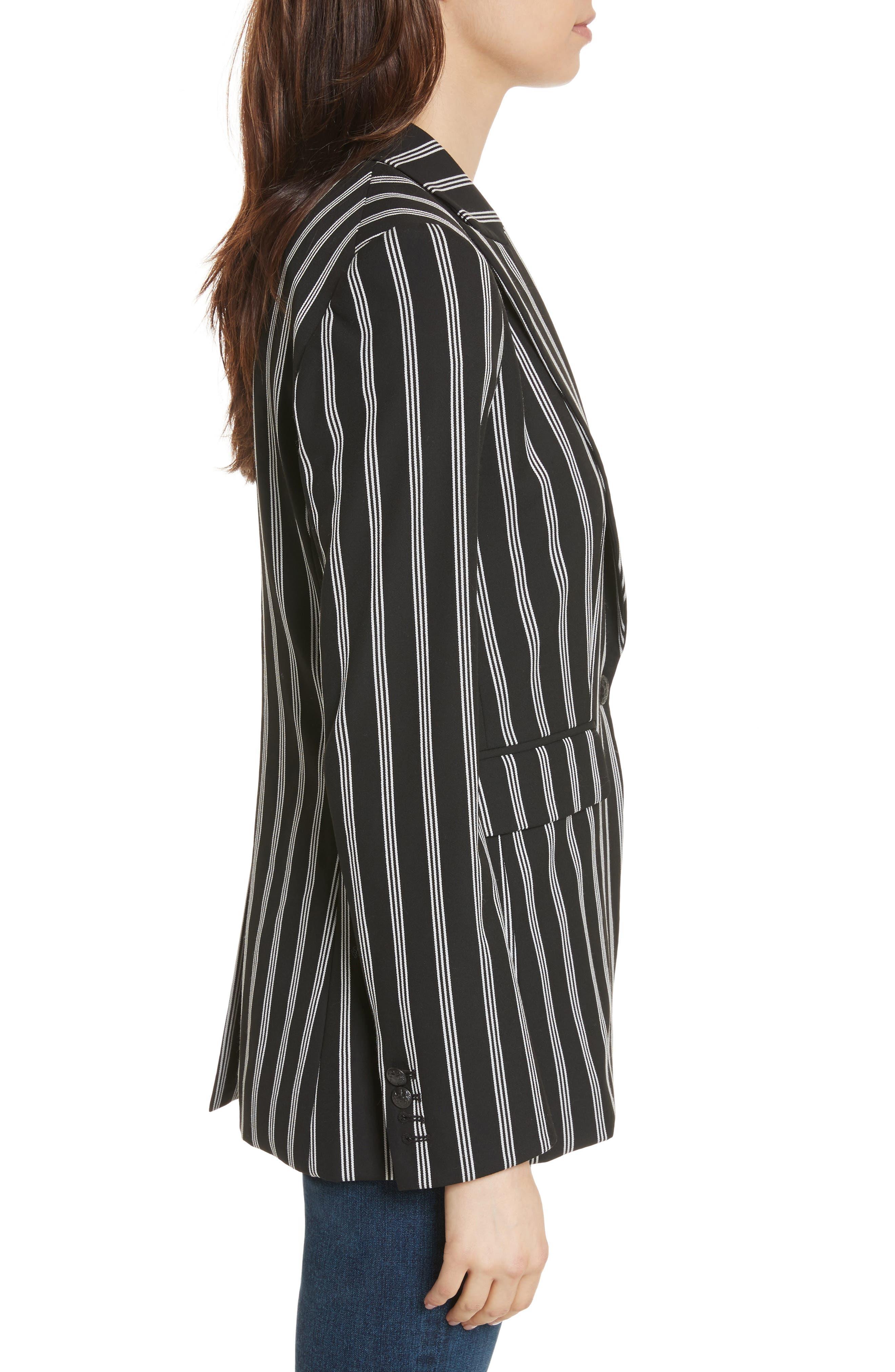Petra Stripe Jacket,                             Alternate thumbnail 3, color,                             Black/ White