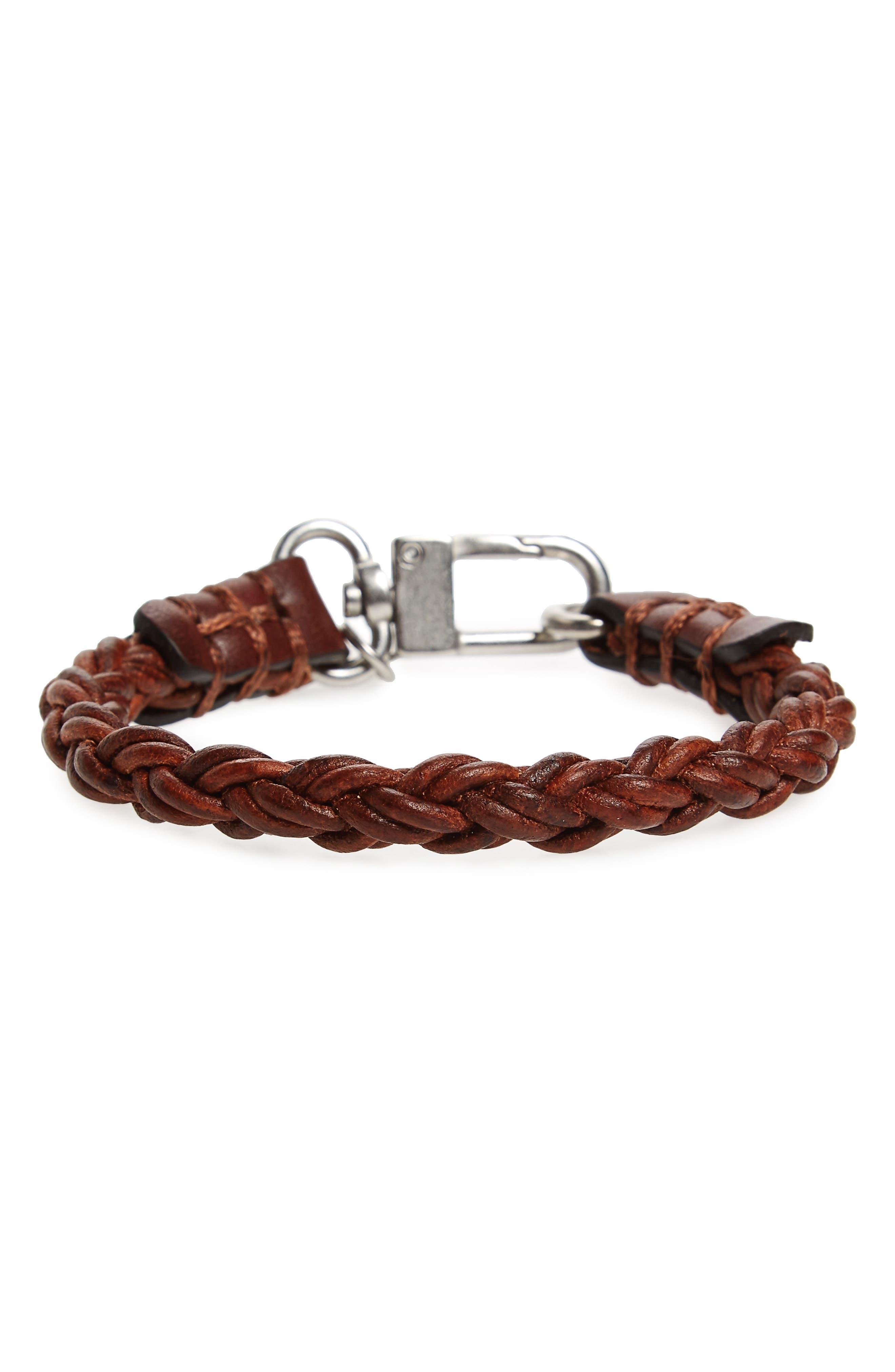 Leather Bracelet,                         Main,                         color, Brown