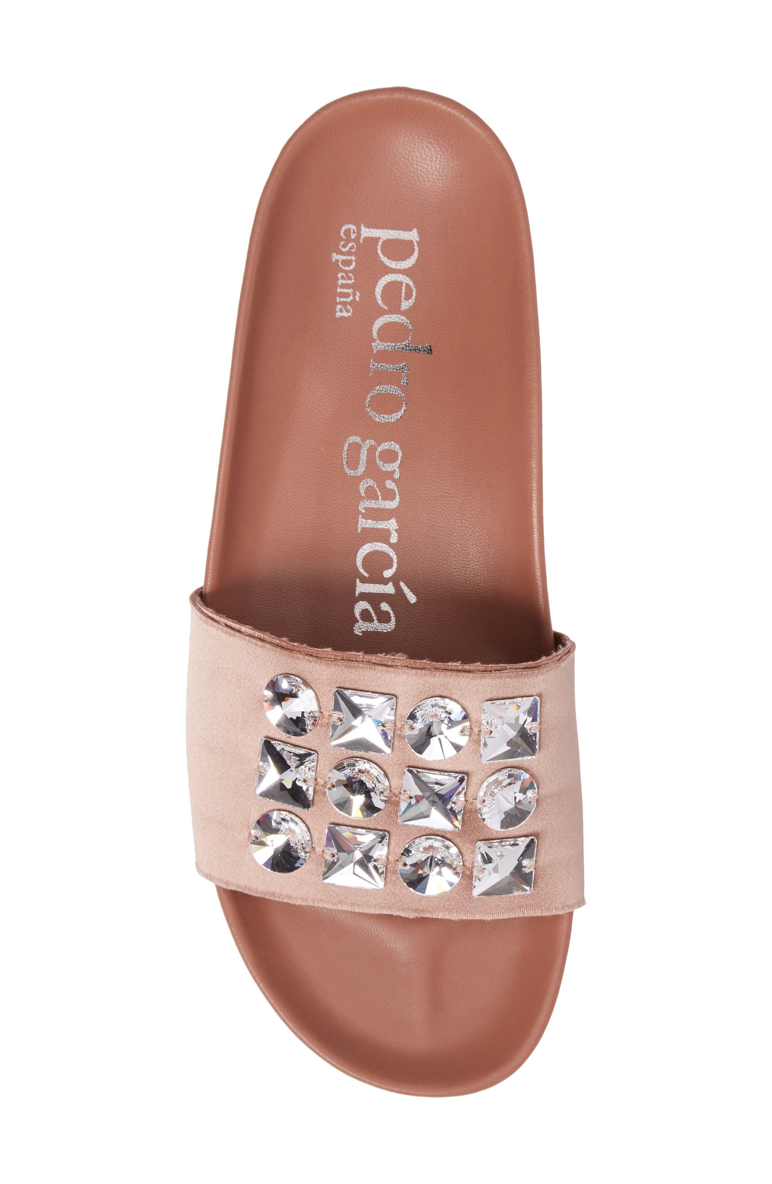 Amery Crystal Slide Sandal,                             Alternate thumbnail 5, color,                             Bisque Satin