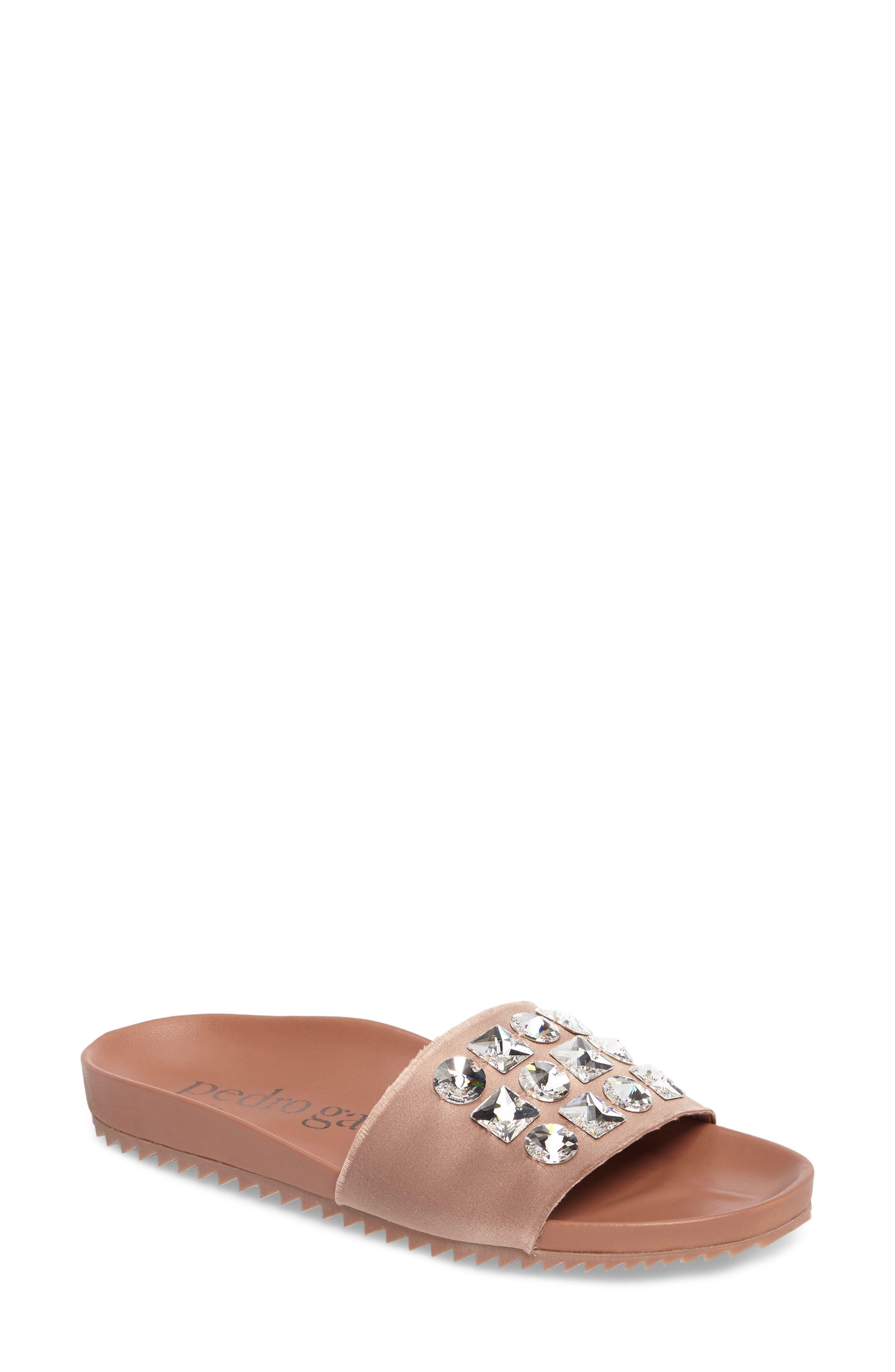 Amery Crystal Slide Sandal,                         Main,                         color, Bisque Satin