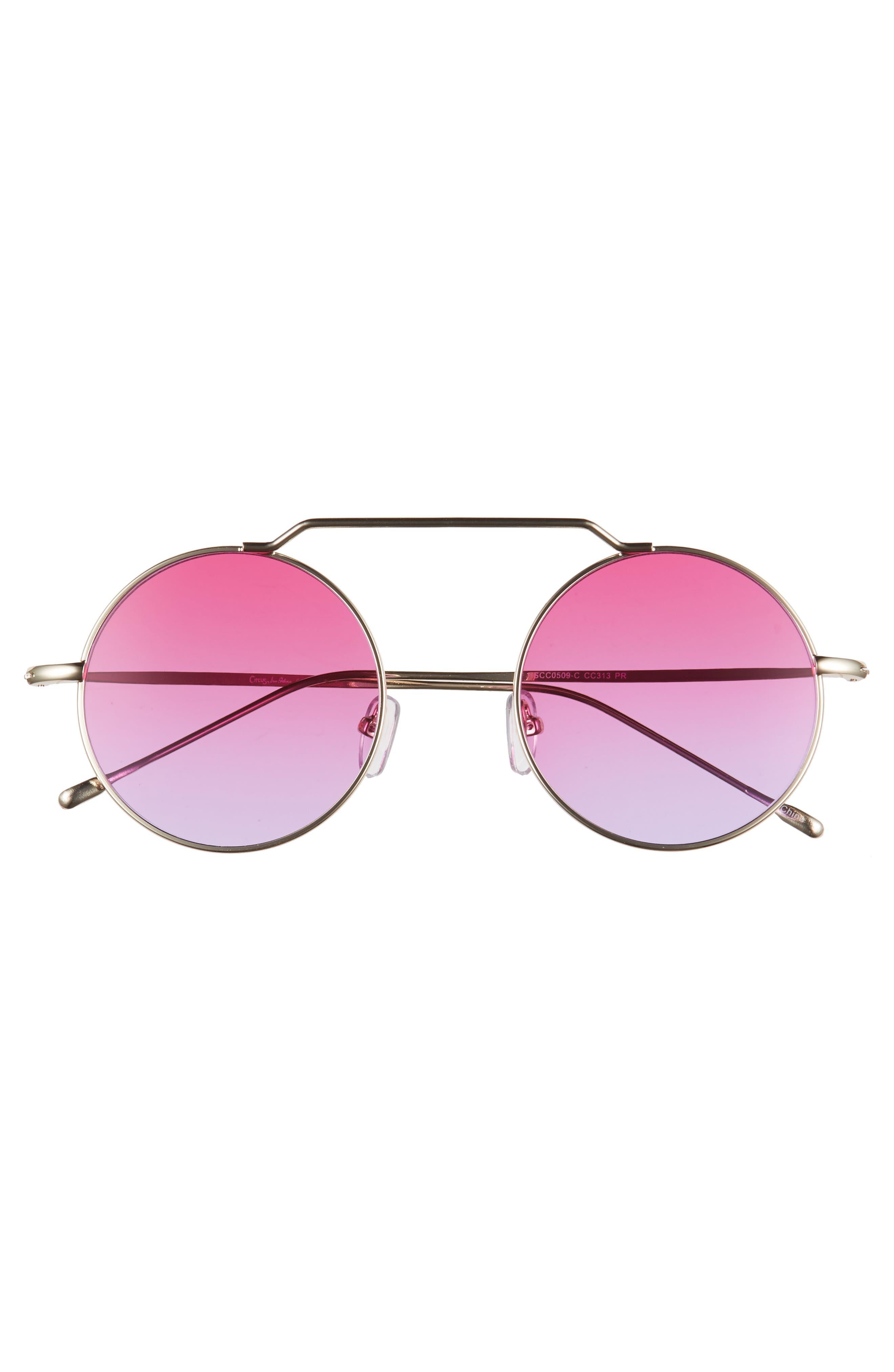 51mm Brow Bar Round Sunglasses,                             Alternate thumbnail 3, color,                             Purple