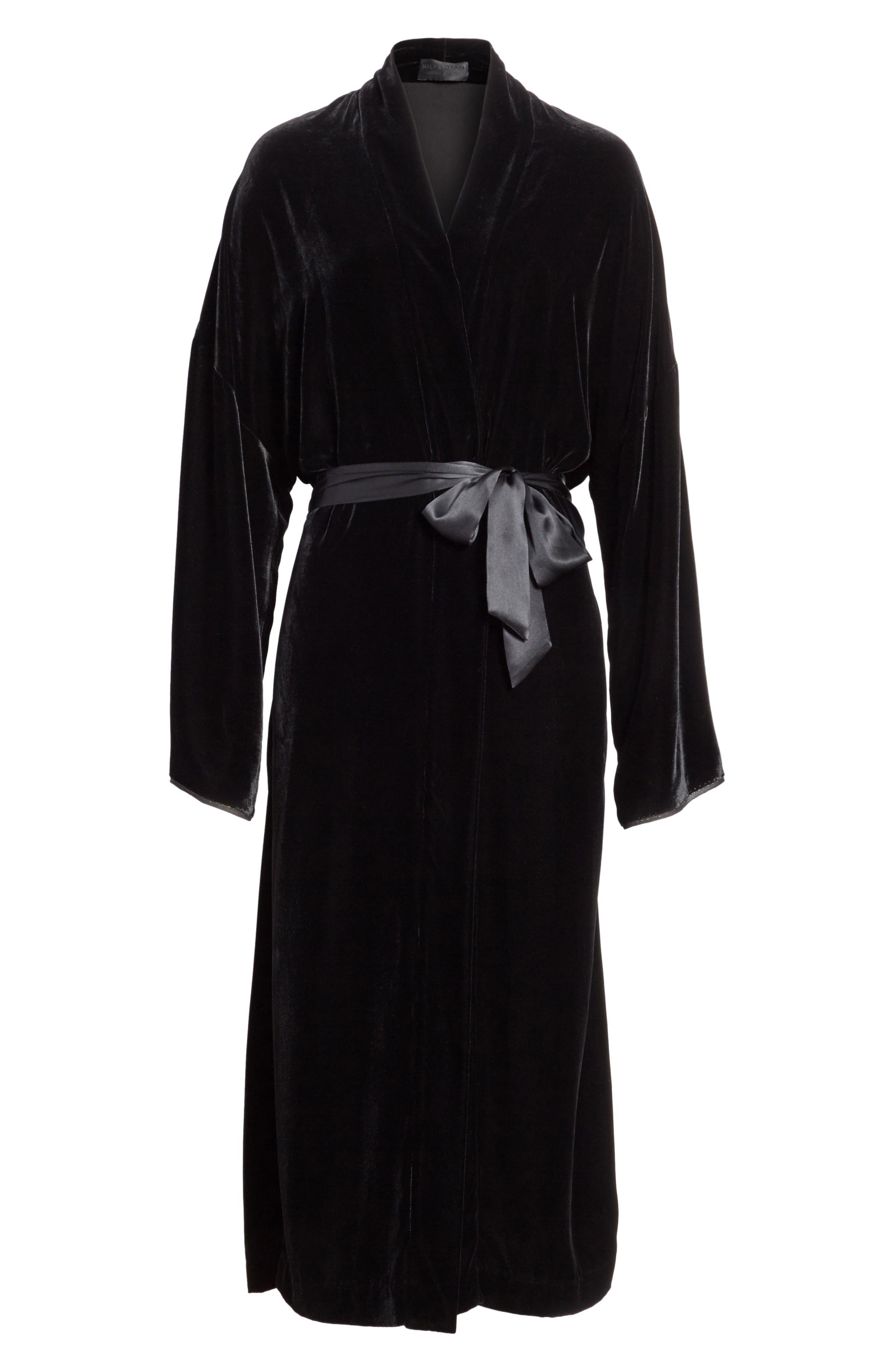 Muna Velvet Kimono,                             Alternate thumbnail 7, color,                             Black