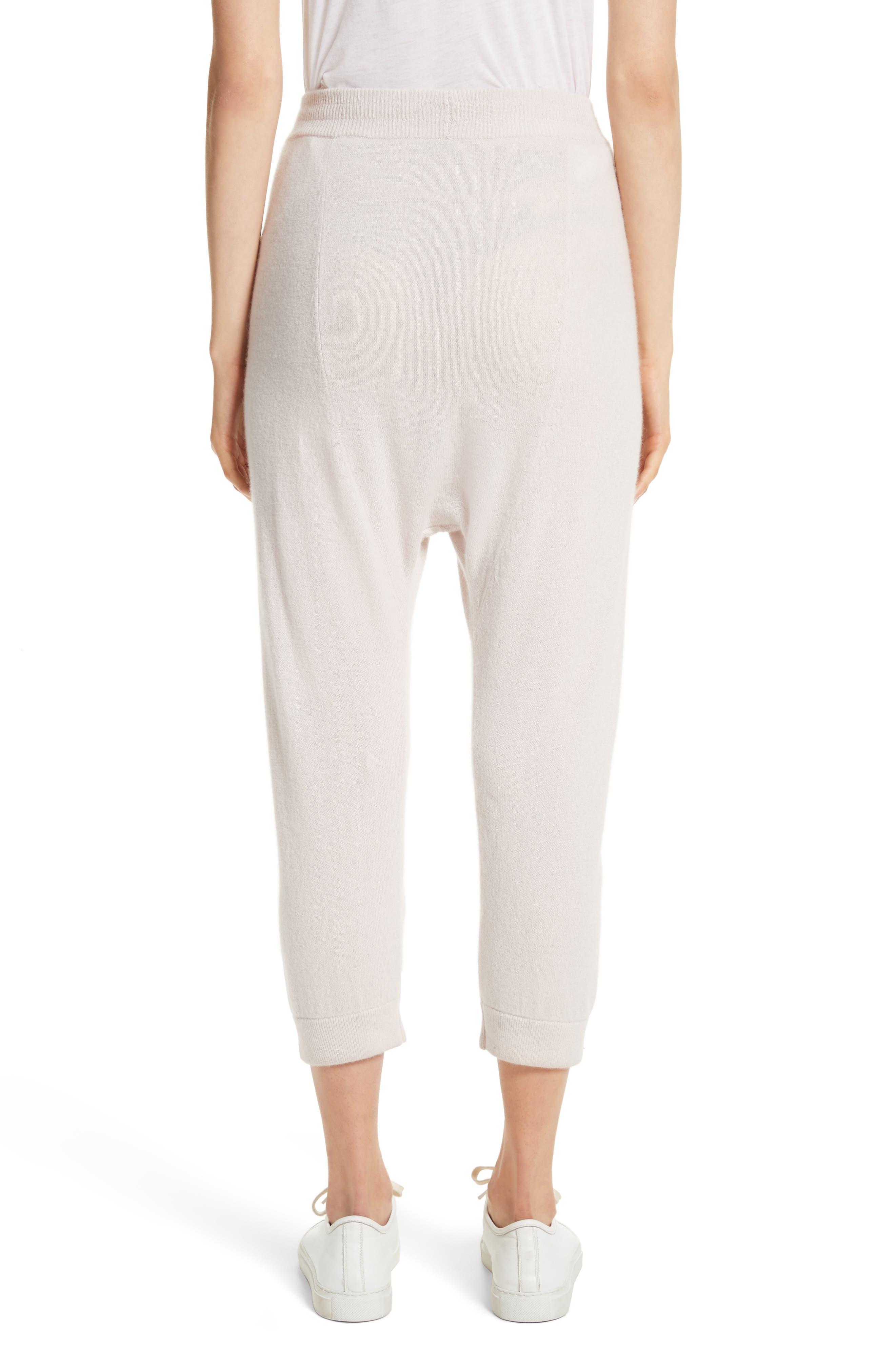 Janina Cashmere Crop Lounge Pants,                             Alternate thumbnail 3, color,                             Blush