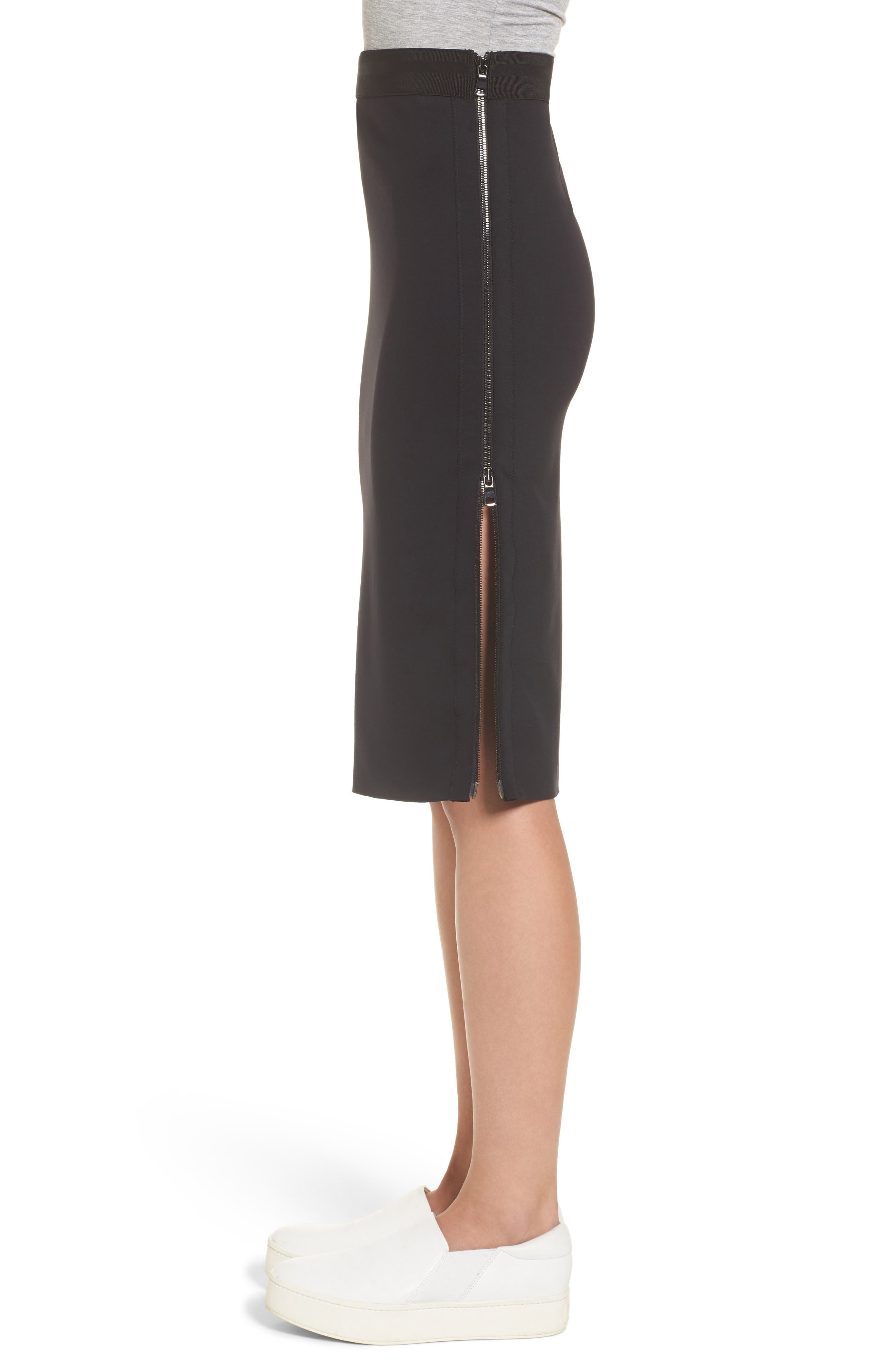 Side Zip Pencil Skirt,                             Alternate thumbnail 4, color,                             Black