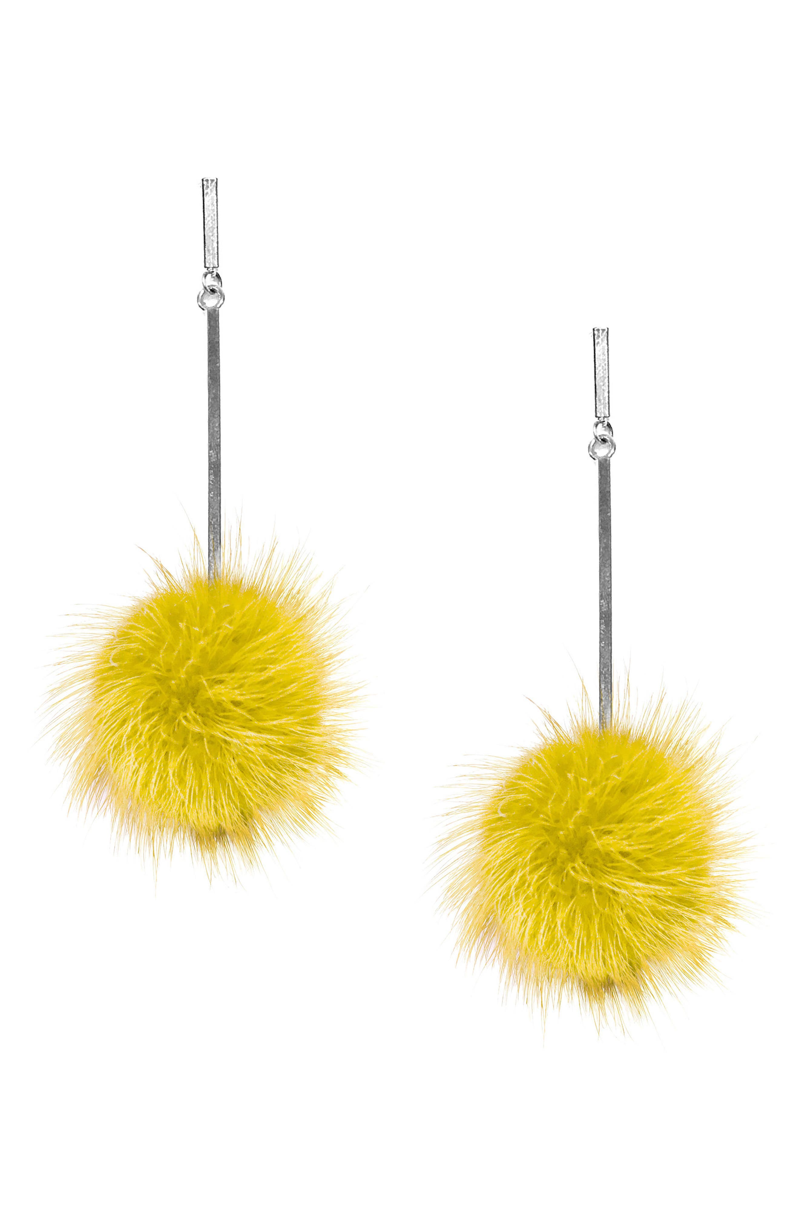 Genuine Mink Fur Pompom Earrings,                             Main thumbnail 1, color,                             Silver/ Yellow