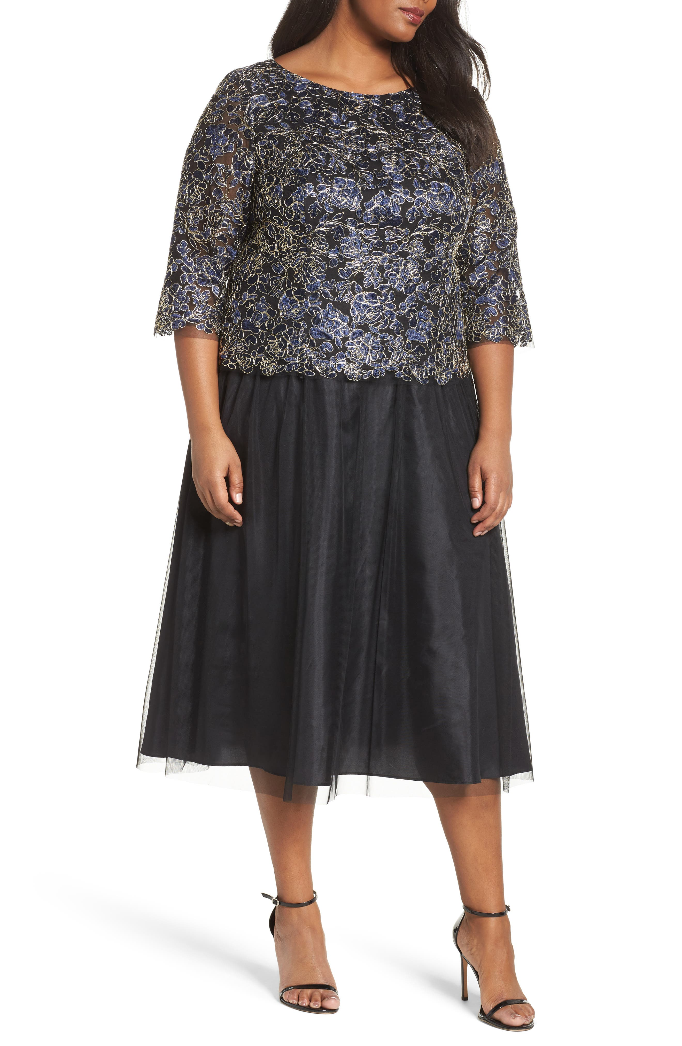Alex Evenings Tea Length Lace & Tulle Dress (Plus Size)