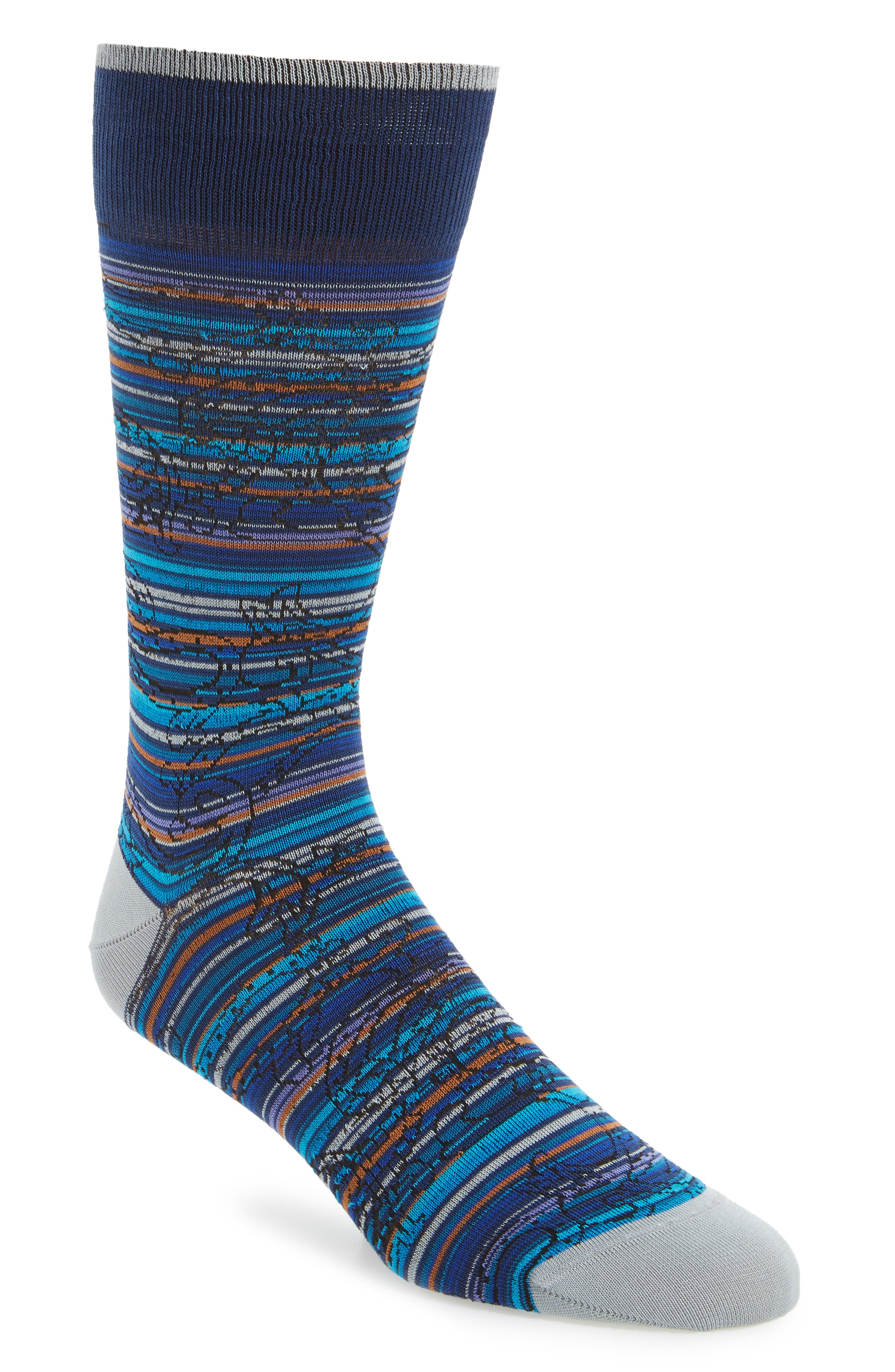 Stripe Socks,                         Main,                         color, Aqua
