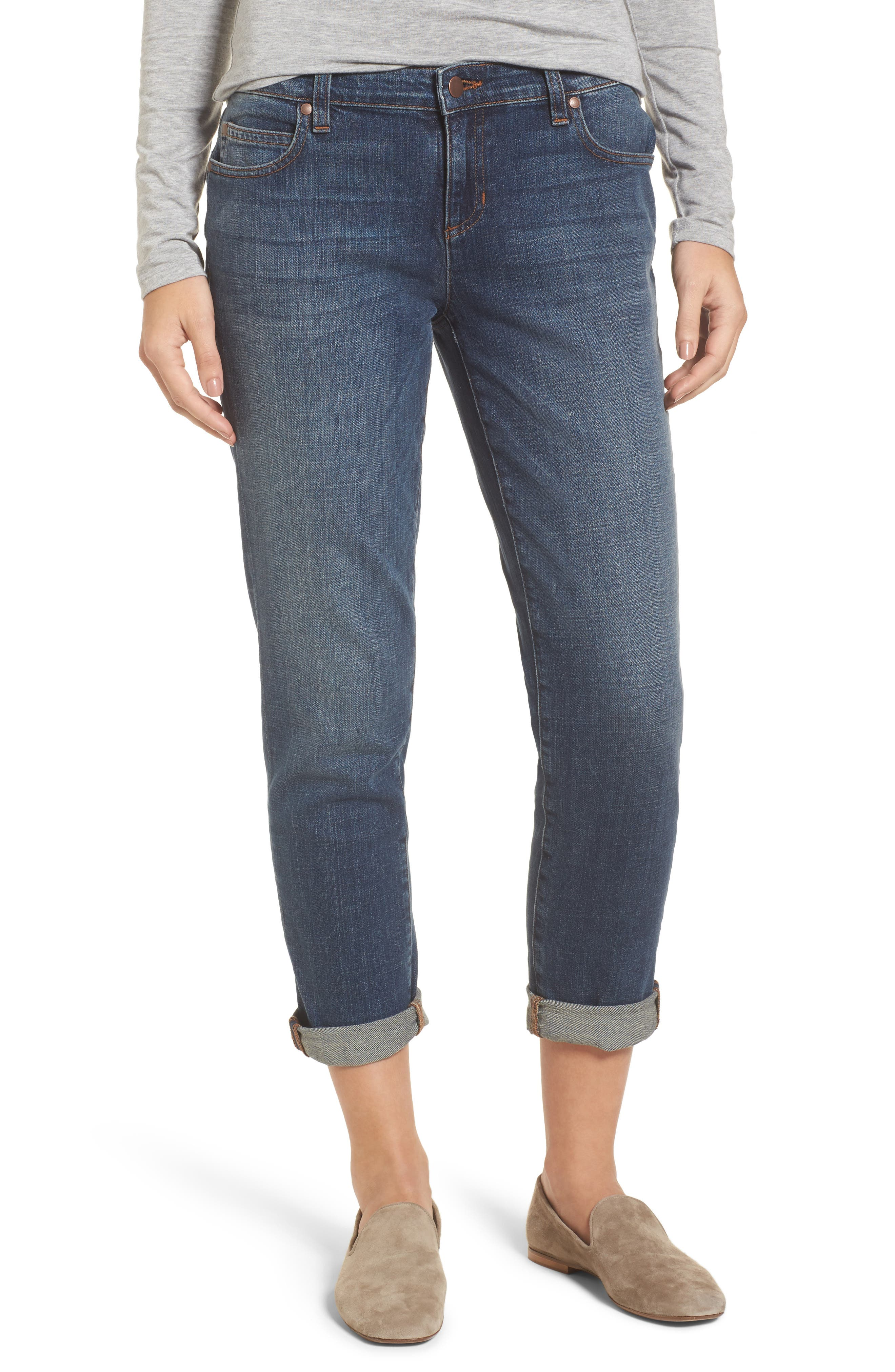 Alternate Image 1 Selected - Eileen Fisher Organic Cotton Boyfriend Jeans (Online Only) (Regular & Petite)