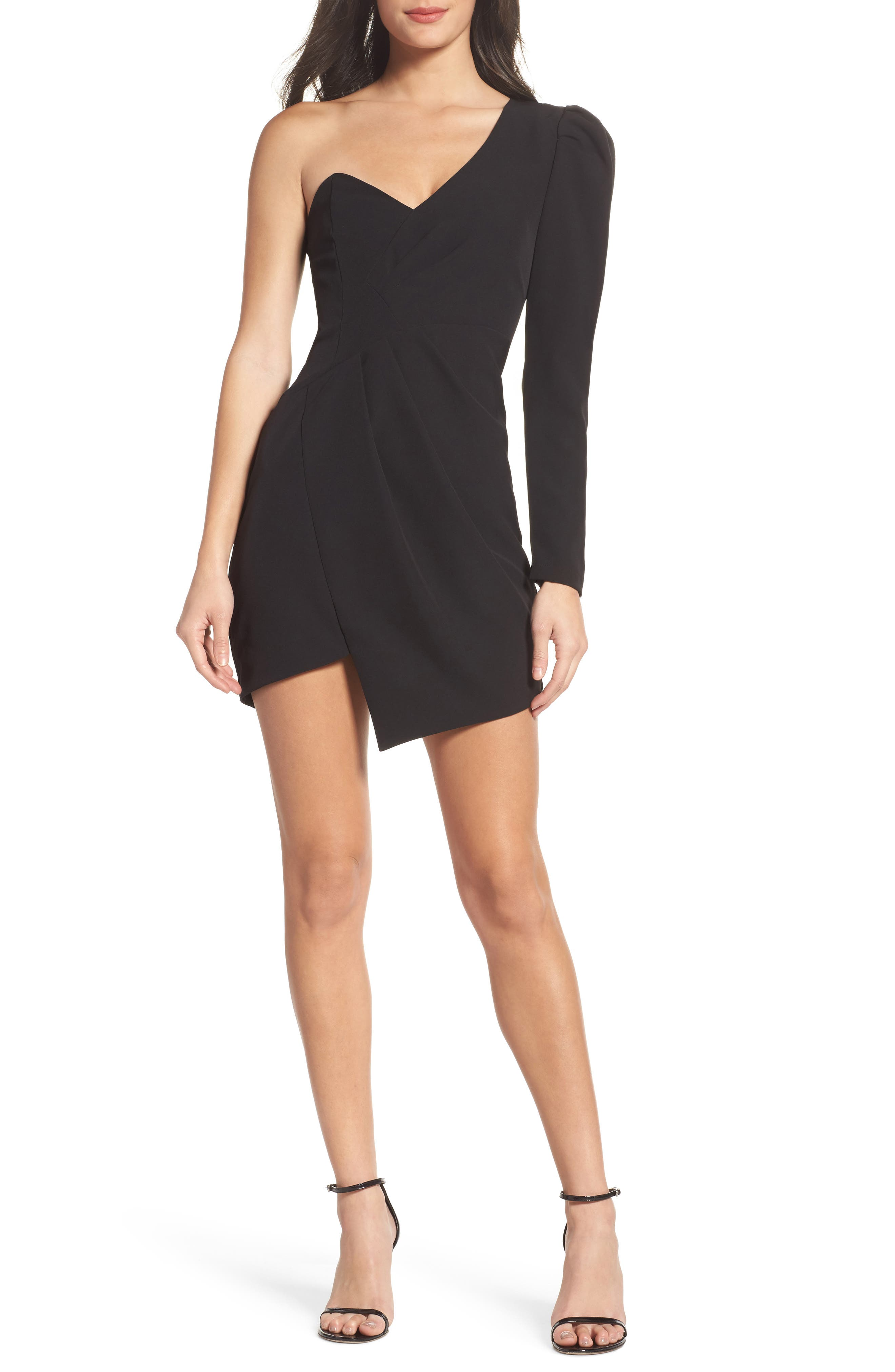 Anja One-Shoulder Sheath Dress,                         Main,                         color, Black