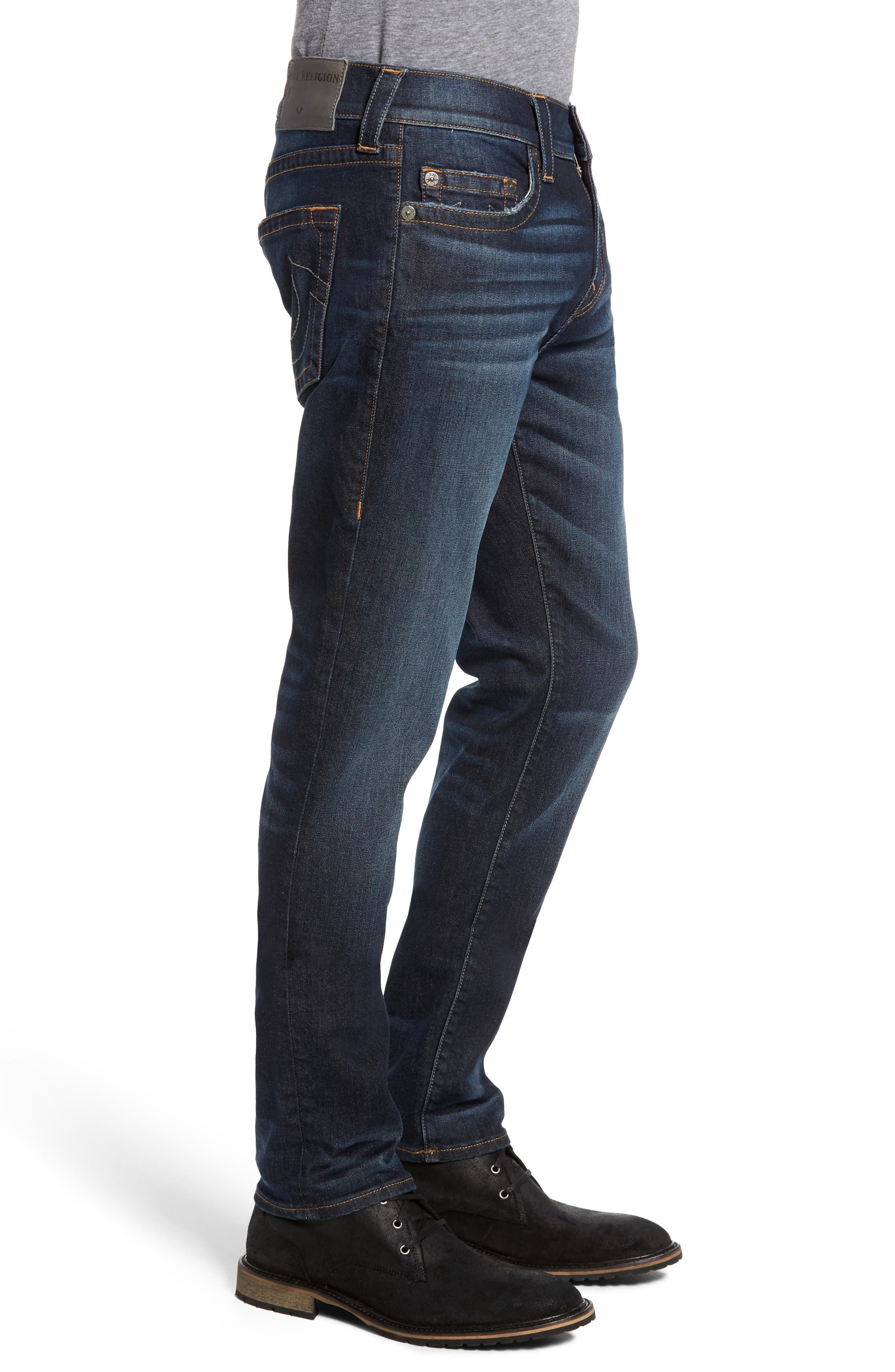 Alternate Image 3  - True Religion Brand Jeans Rocco Skinny Fit Jeans (Dark Indigo Luxe)