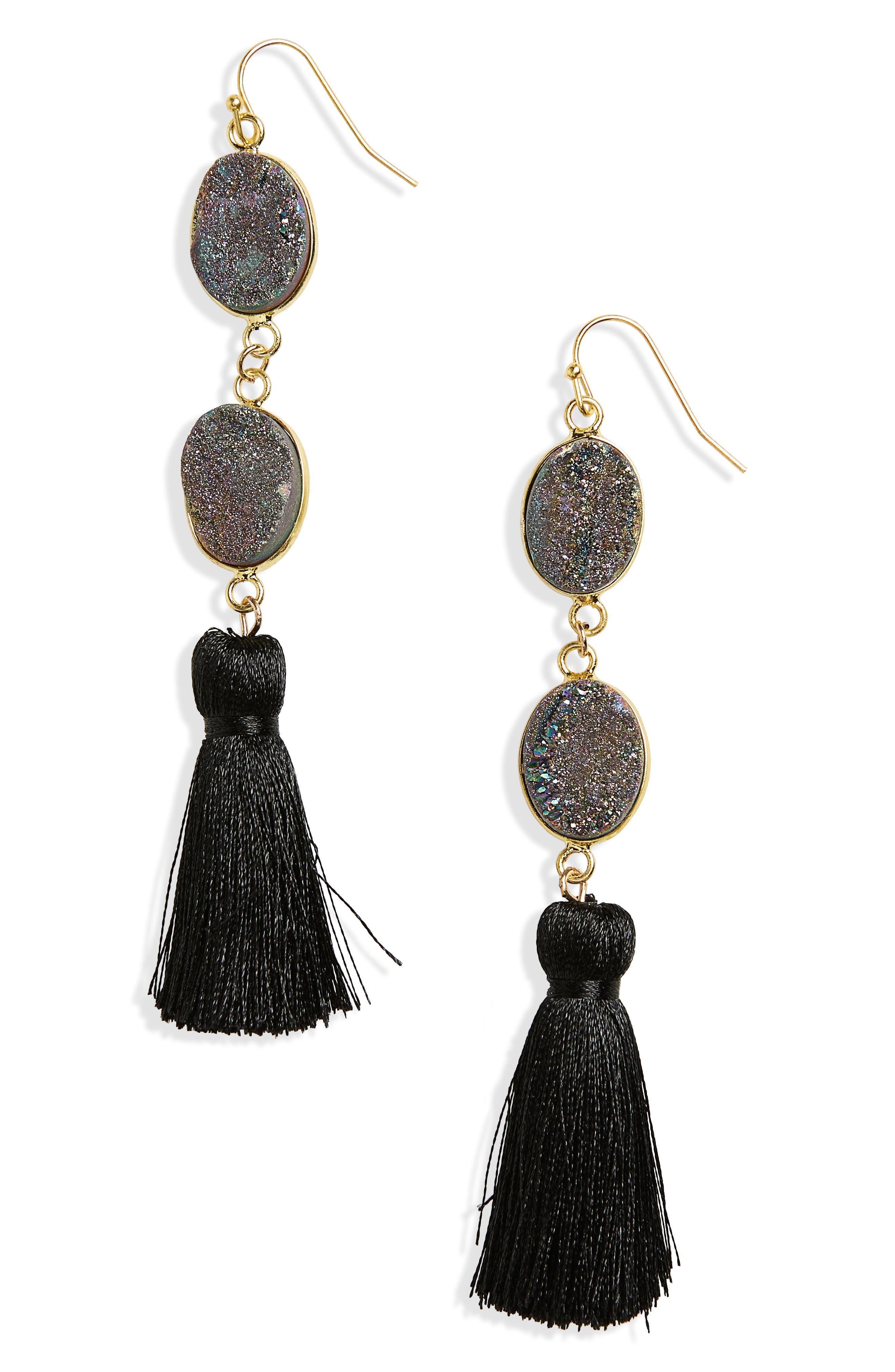 Double Drusy Tassel Earrings,                             Main thumbnail 1, color,                             Black