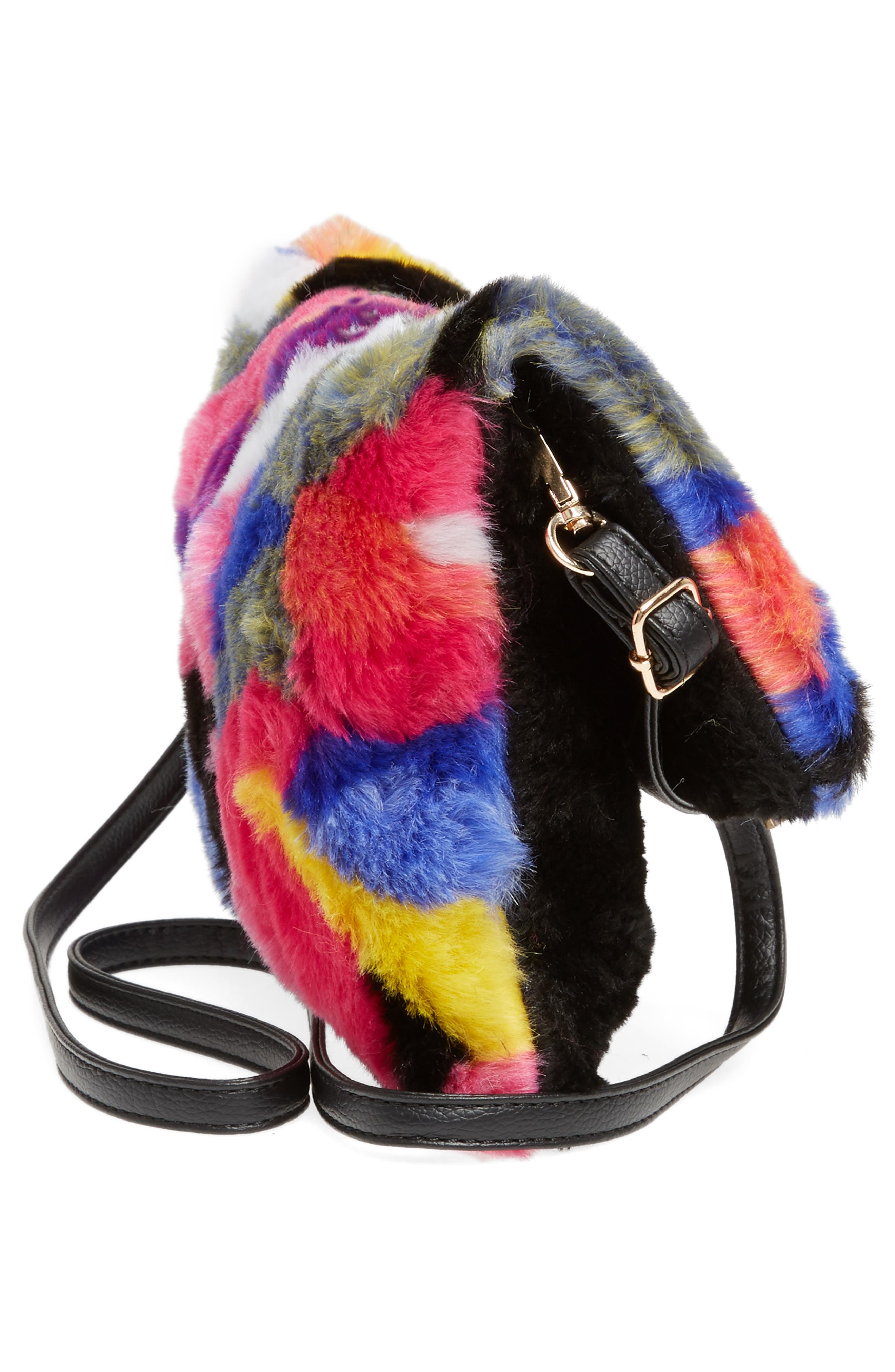 Faux Fur Foldover Clutch,                             Alternate thumbnail 4, color,                             Multi