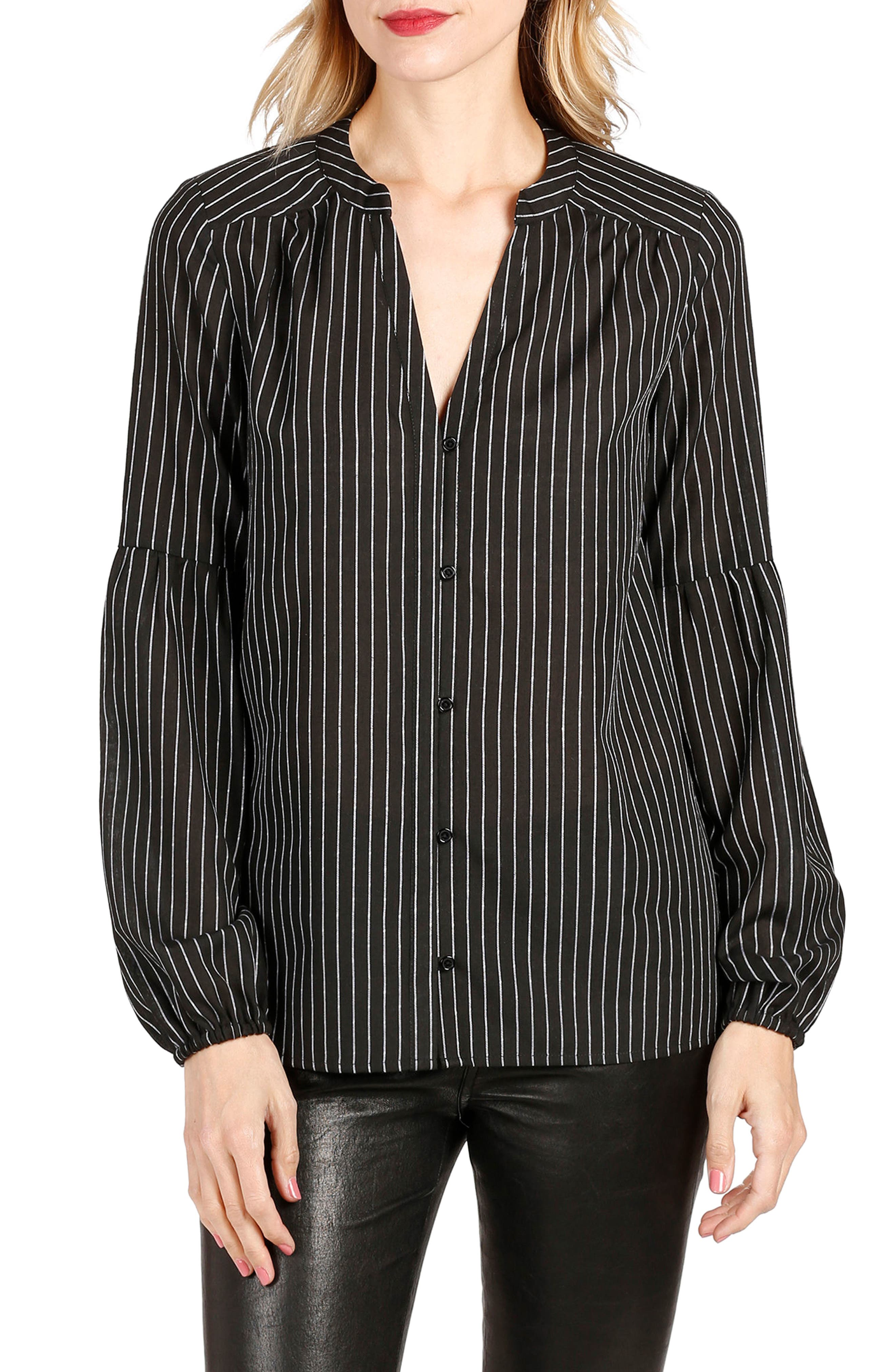 Alternate Image 1 Selected - PAIGE Emilia Pinstripe Top