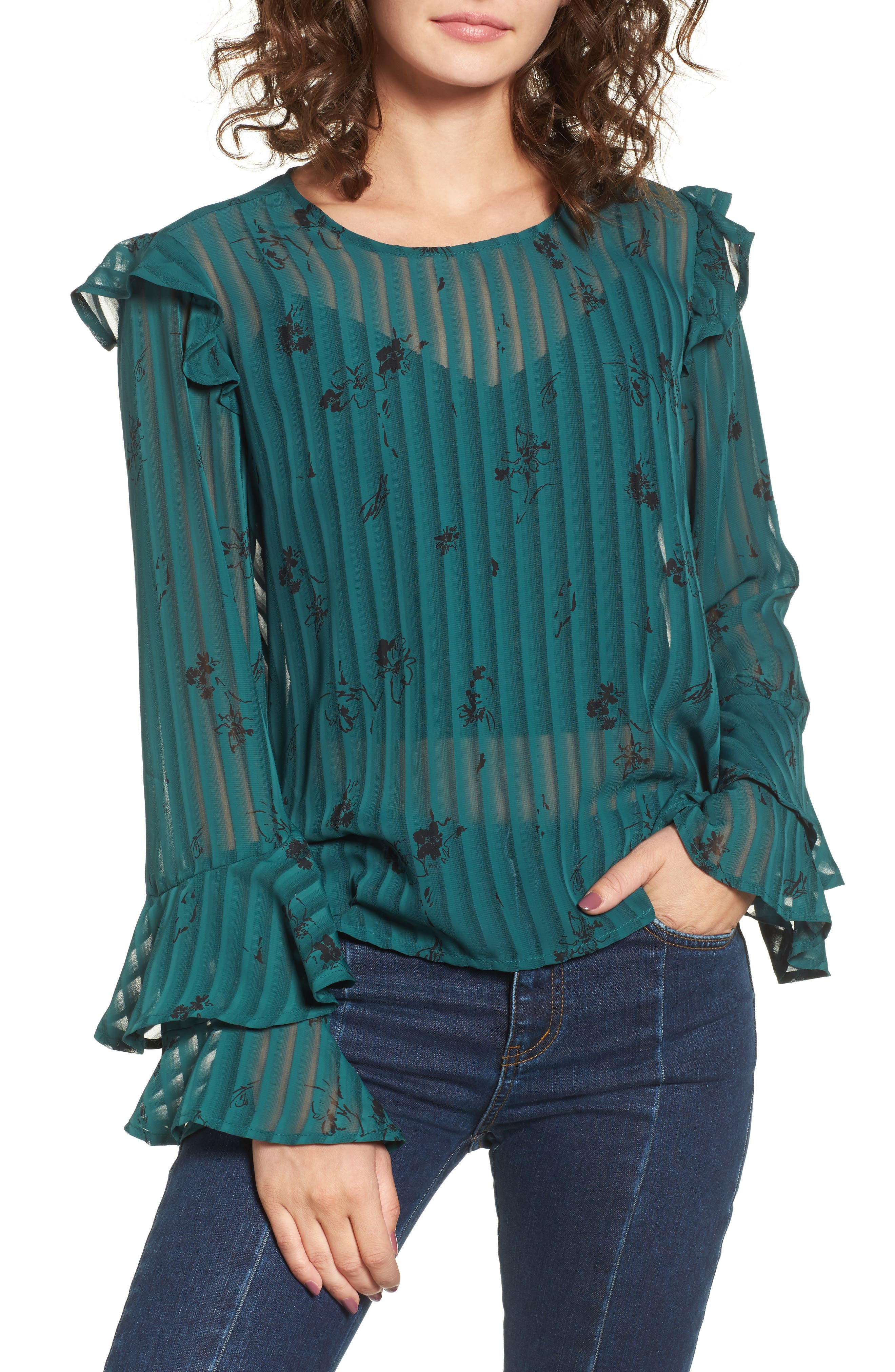 Ruffled Sheer Stripe Blouse,                         Main,                         color, Green Jasper Italian Sketch