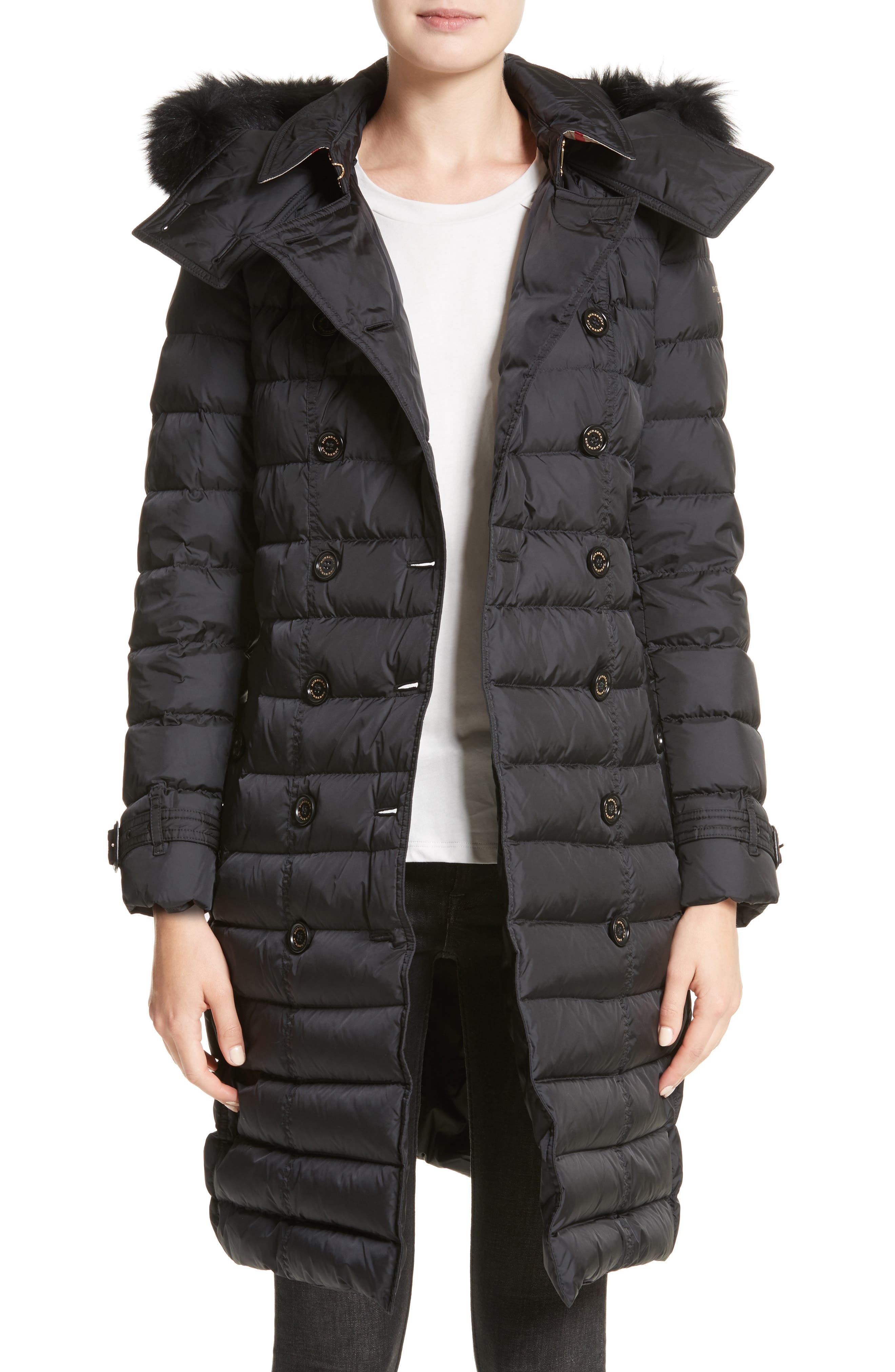 Hooded Down Puffer Coat with Genuine Fox Fur Trim,                         Main,                         color, Black