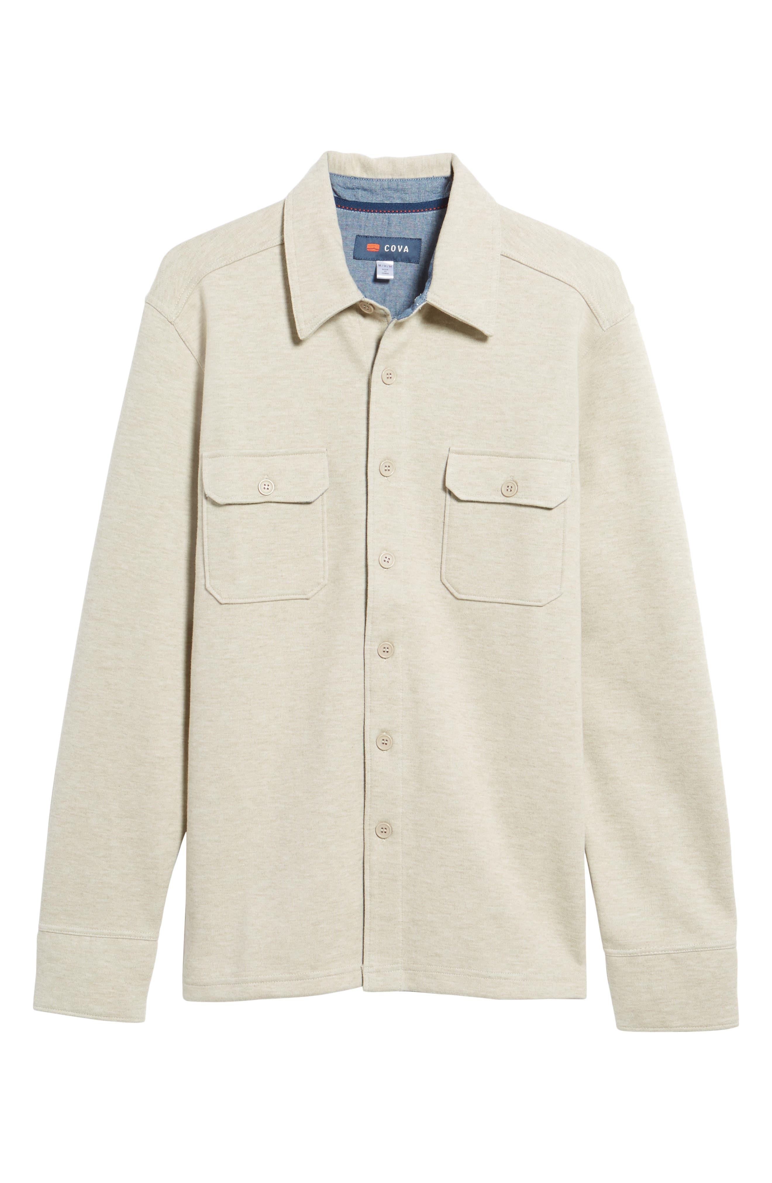 'Longitude' Flap Pocket Fleece Shirt,                             Alternate thumbnail 6, color,                             Bamboo Ivory