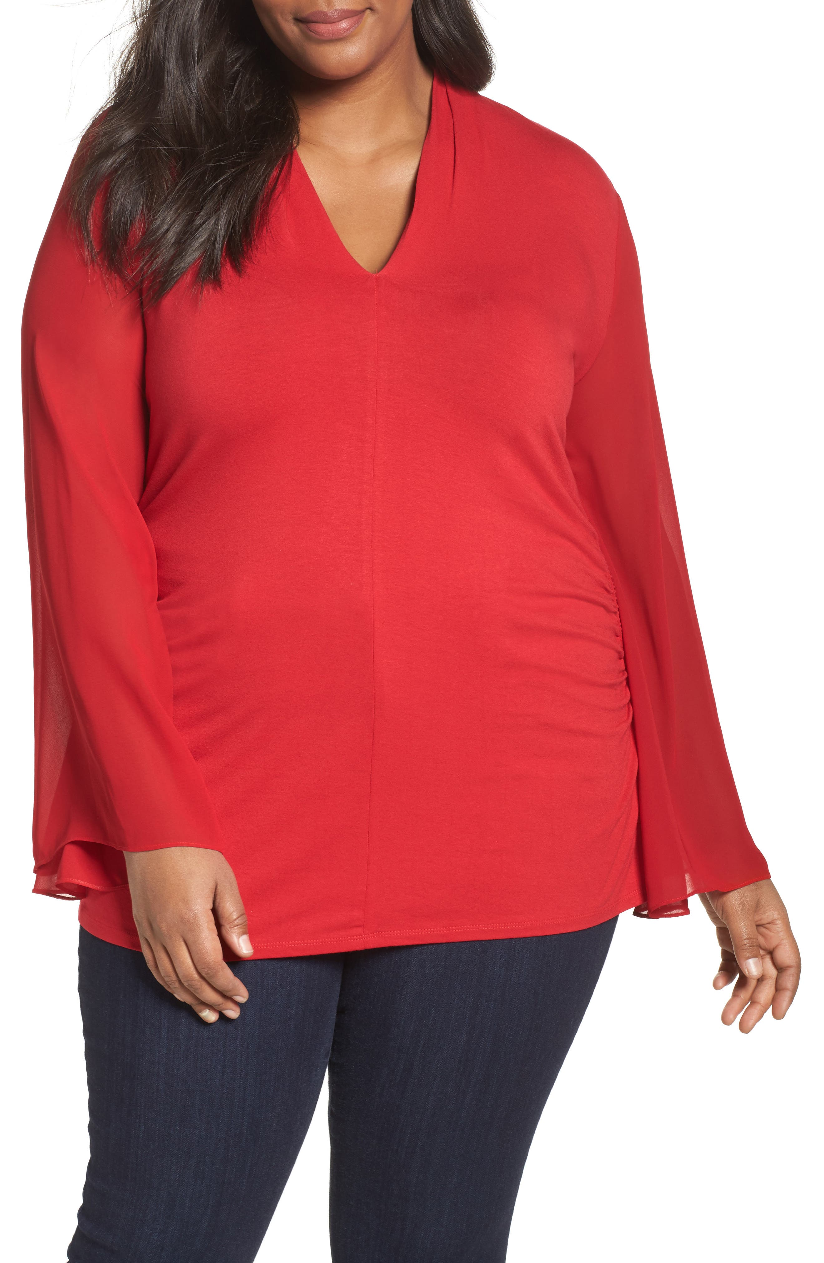 Ruched Bell Sleeve Chiffon Blouse,                         Main,                         color, True Crimson