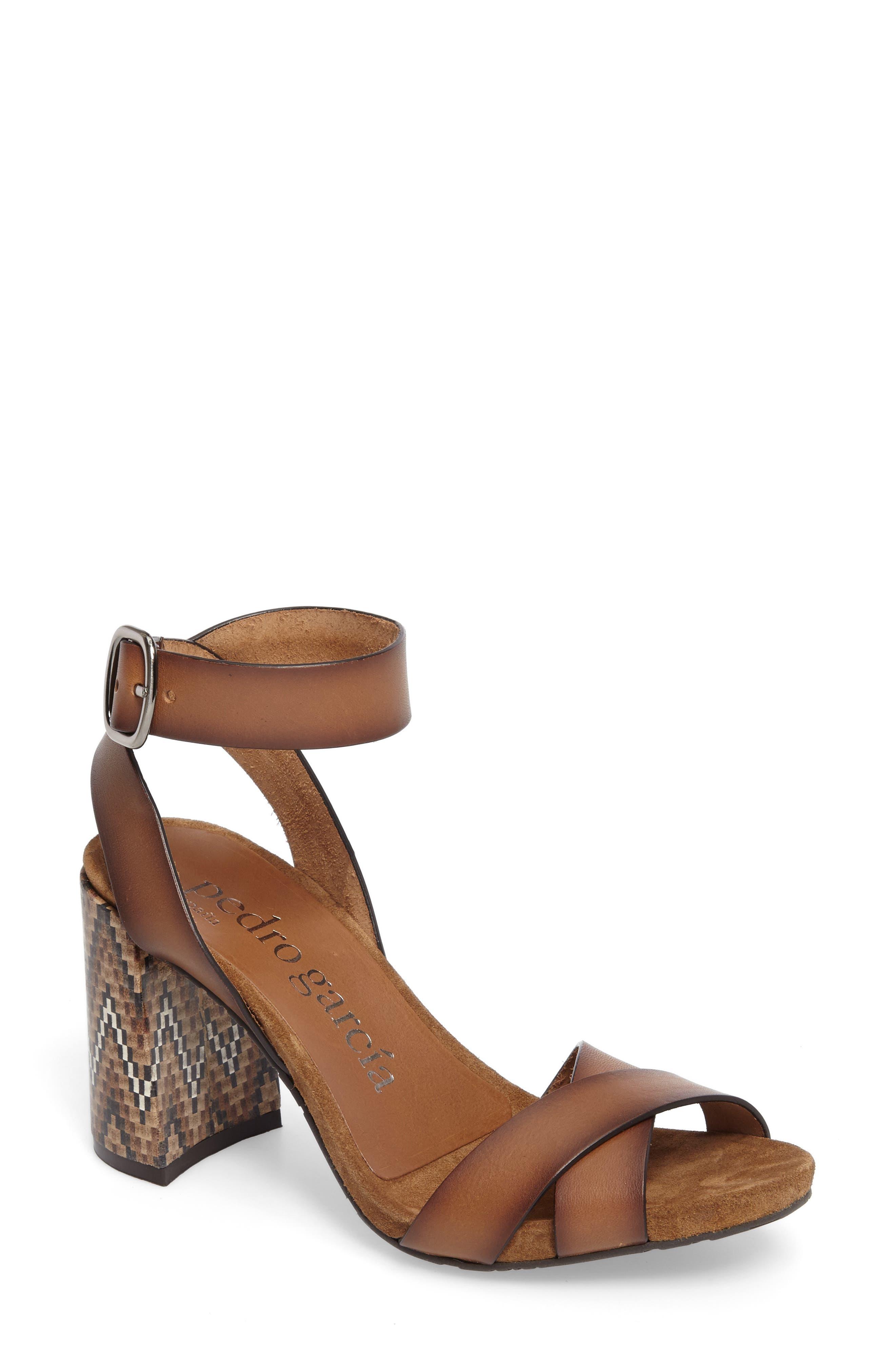 Yemba Embellished Heel Sandal,                             Main thumbnail 1, color,                             Cigar Vacchetta