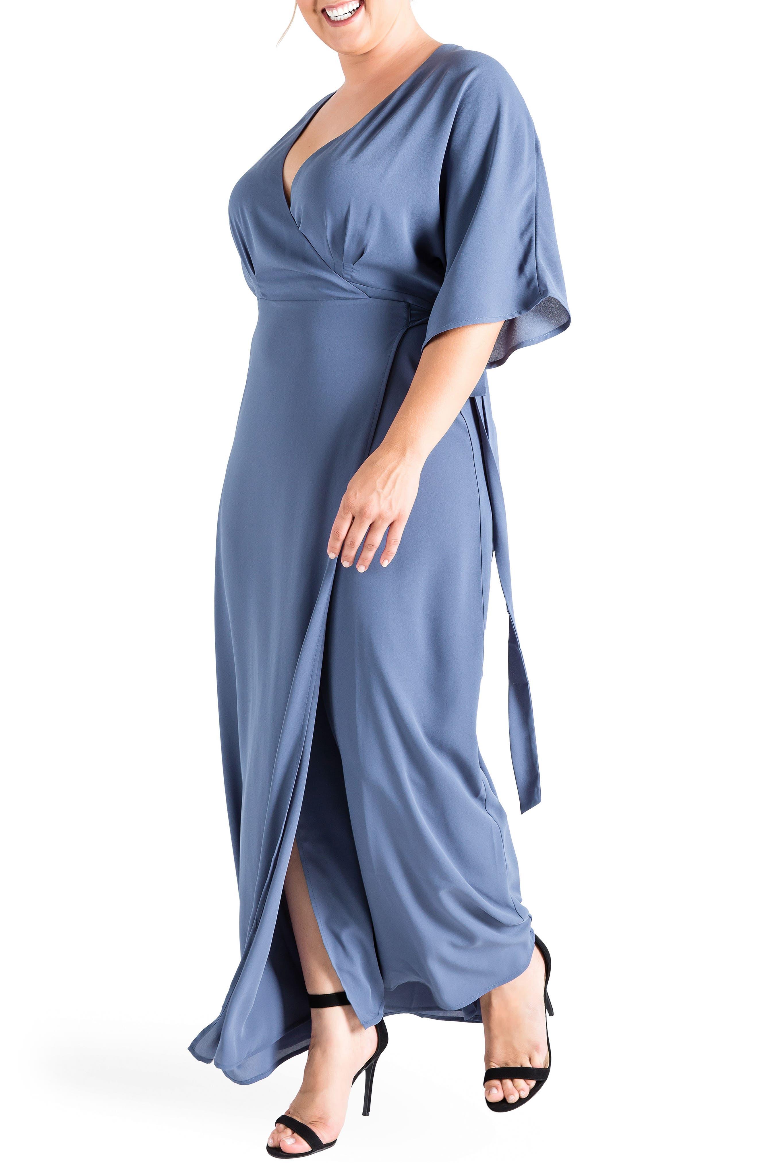 Olivia Print Wrap Maxi Dress,                             Alternate thumbnail 3, color,                             Slate
