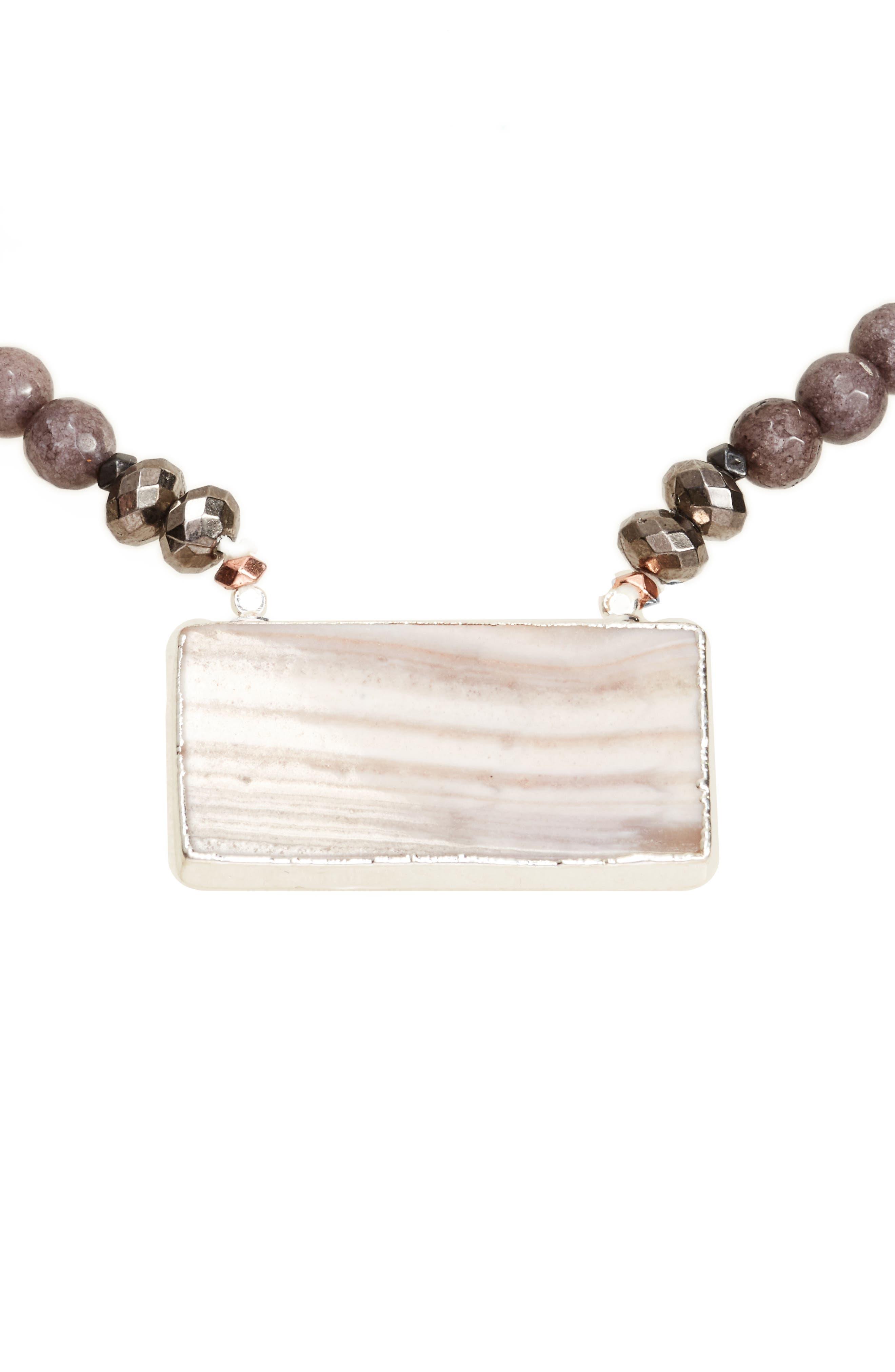 Rectangular Agate Pendant Necklace,                         Main,                         color, Grey