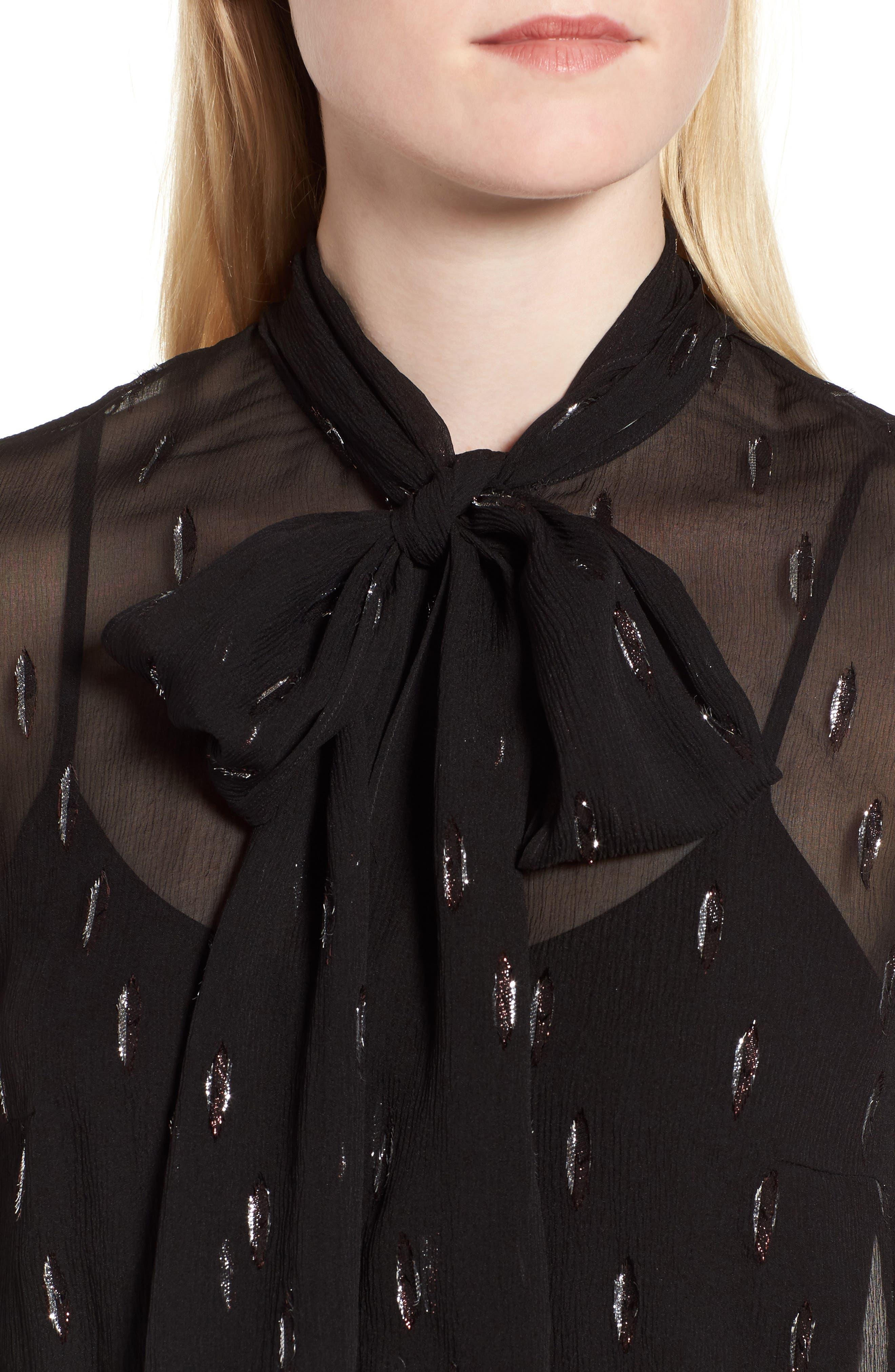 Bavimea Tie Neck Metallic Detail Blouse,                             Alternate thumbnail 5, color,                             Black Fantasy