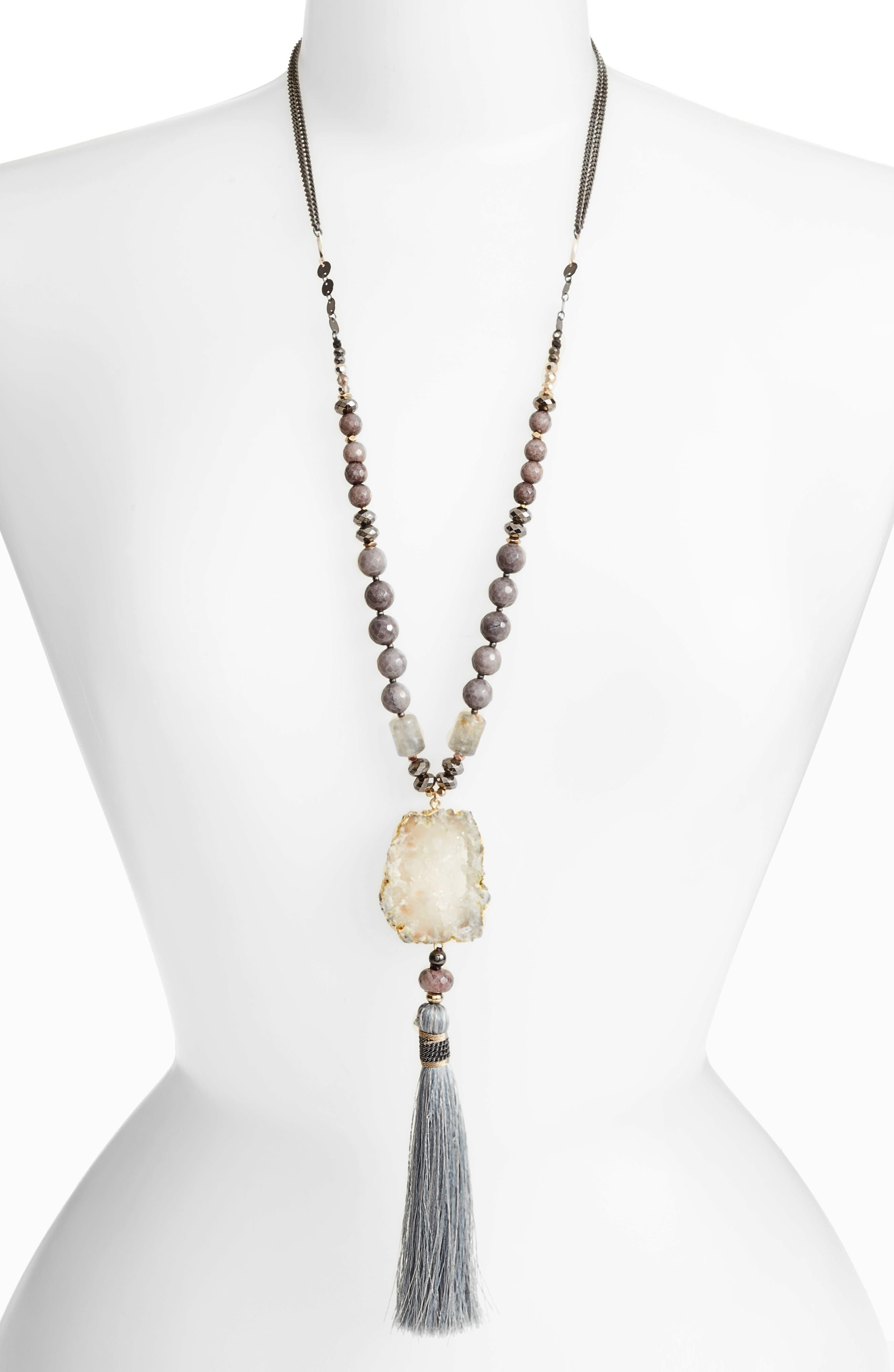 Nakamol Design Agate Pendant Tassel Necklace