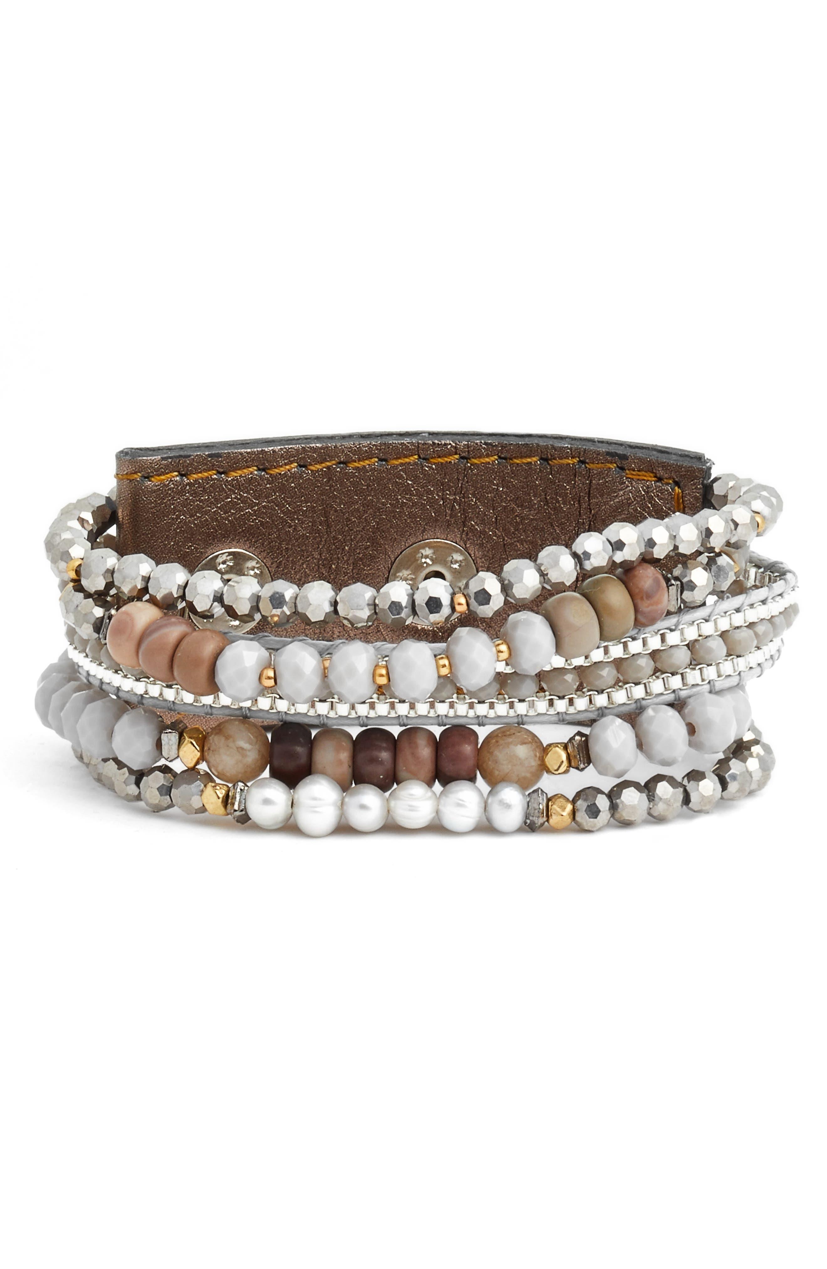 Beaded Wrap Bracelet,                         Main,                         color, Grey