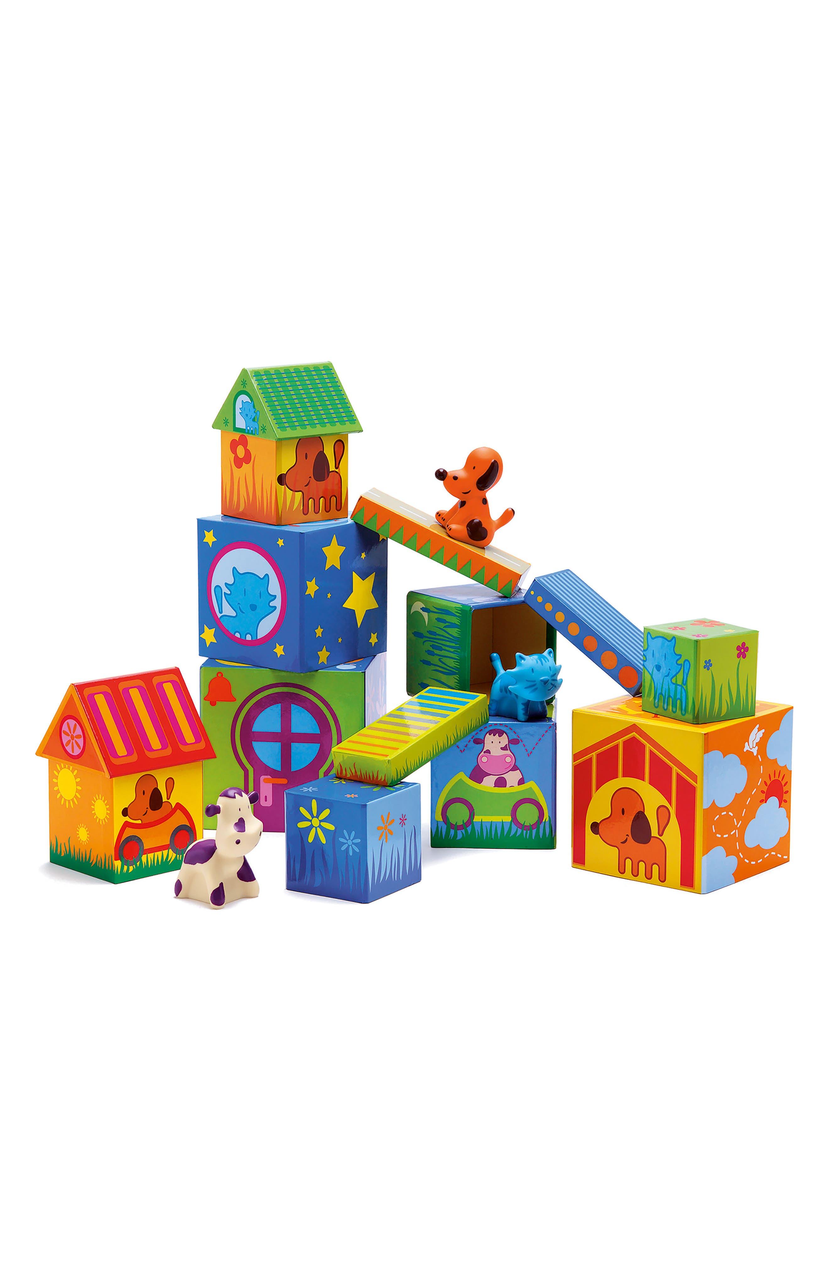 Djeco 17-Piece Cubanimo Cubes for Infants Building Block Set