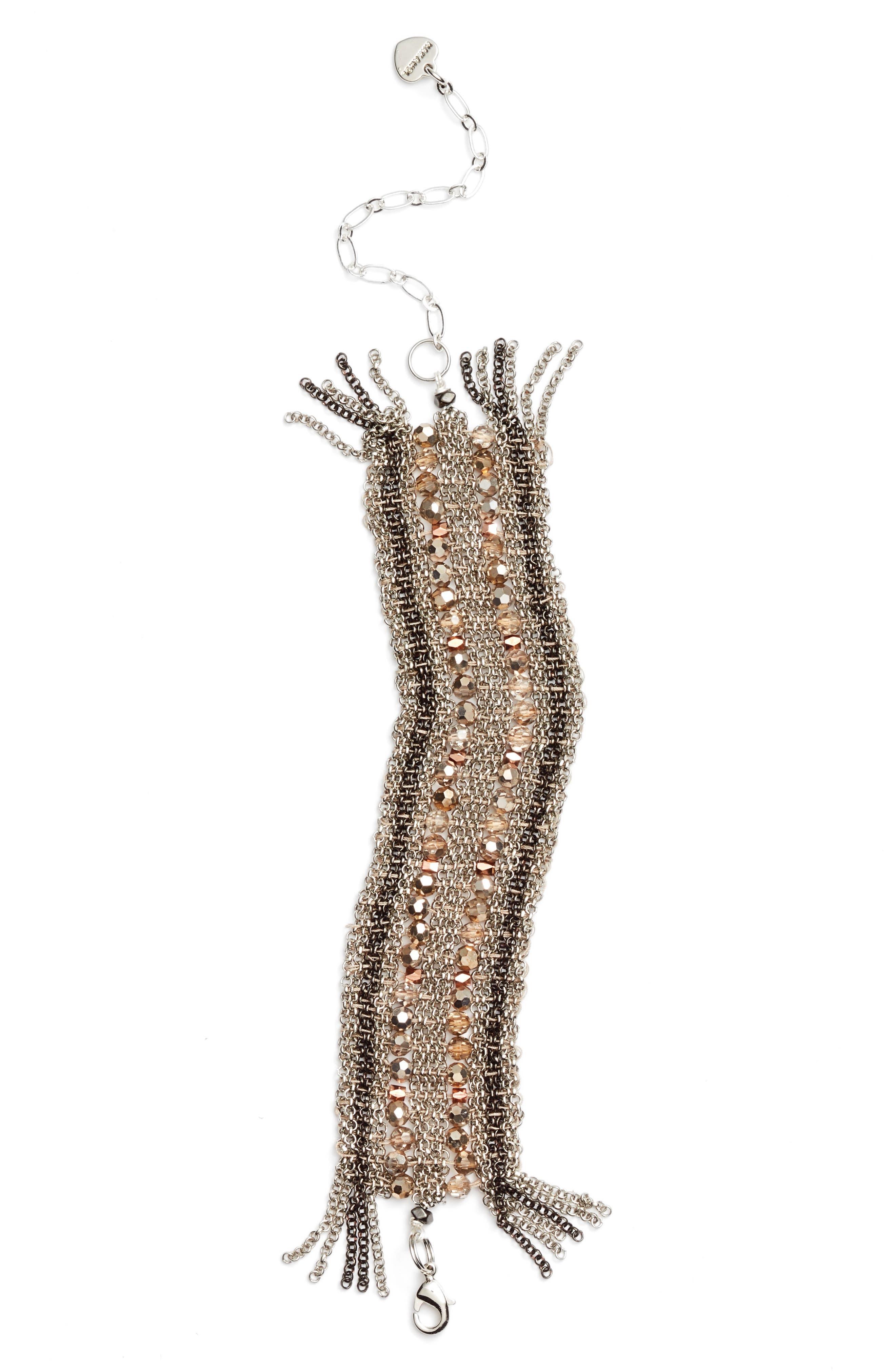 Crystal Mesh Bracelet,                         Main,                         color, Copper