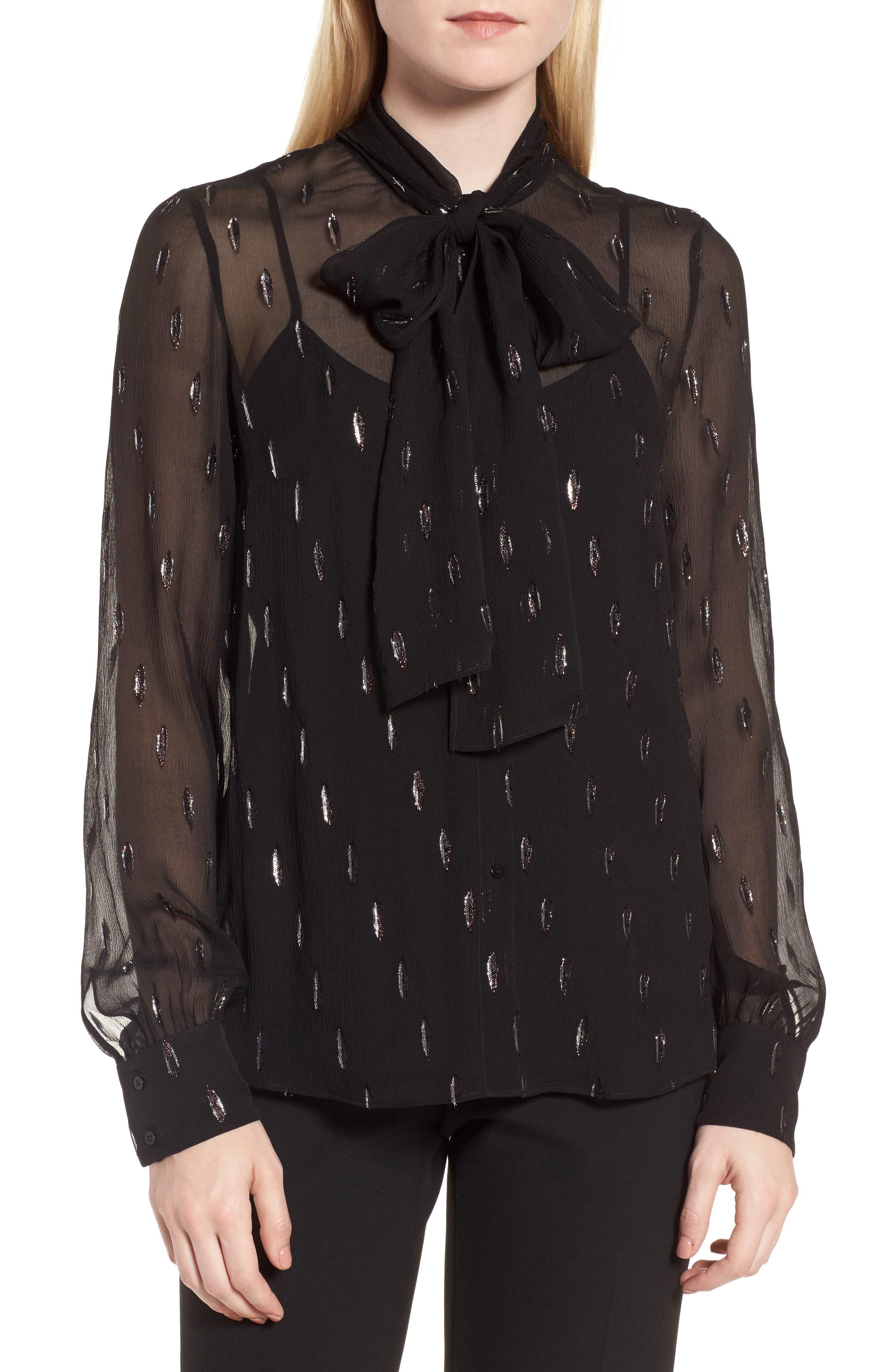 Bavimea Tie Neck Metallic Detail Blouse,                         Main,                         color, Black Fantasy