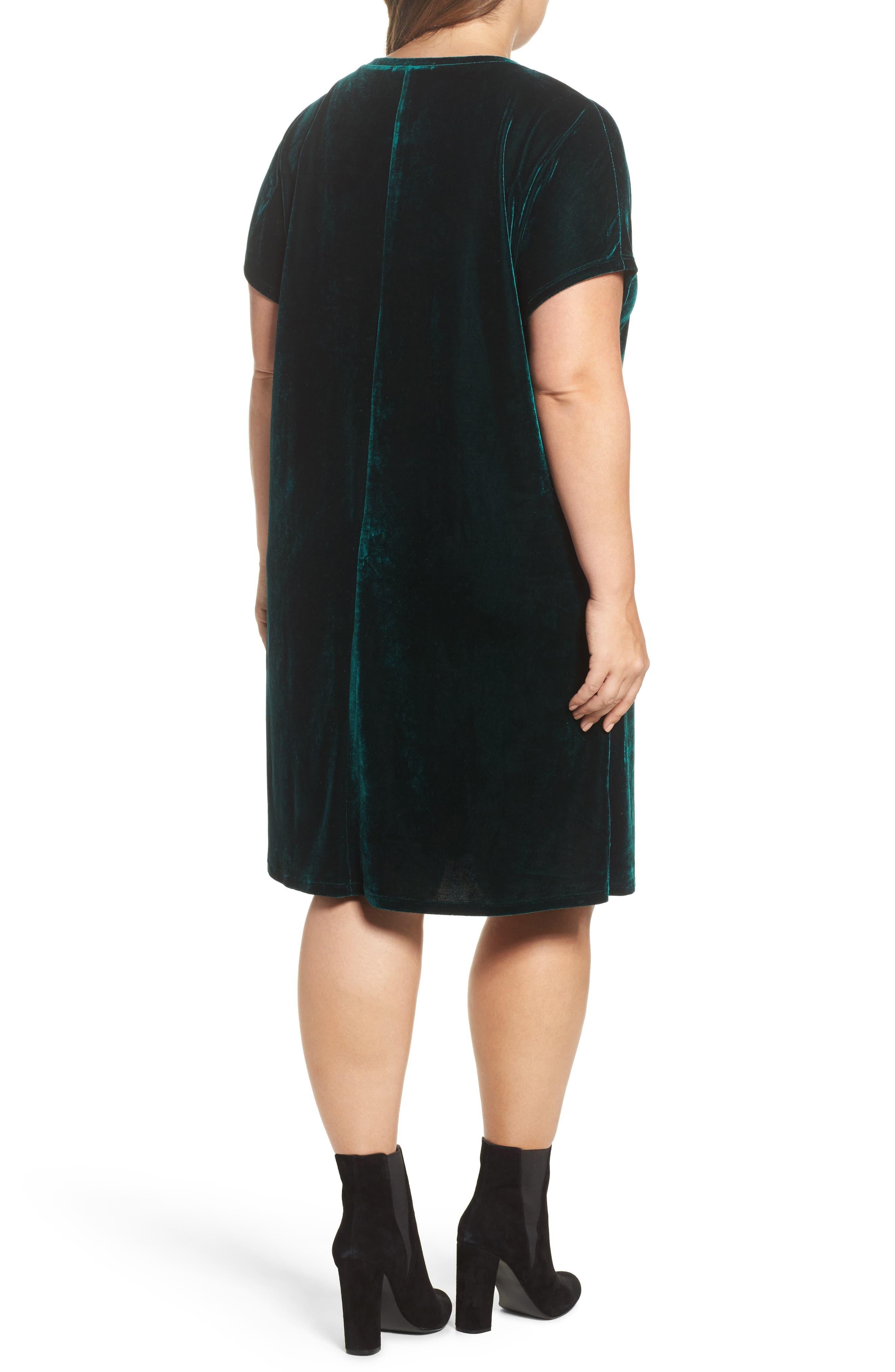Velvet Shift Dress,                             Alternate thumbnail 2, color,                             Pine Green