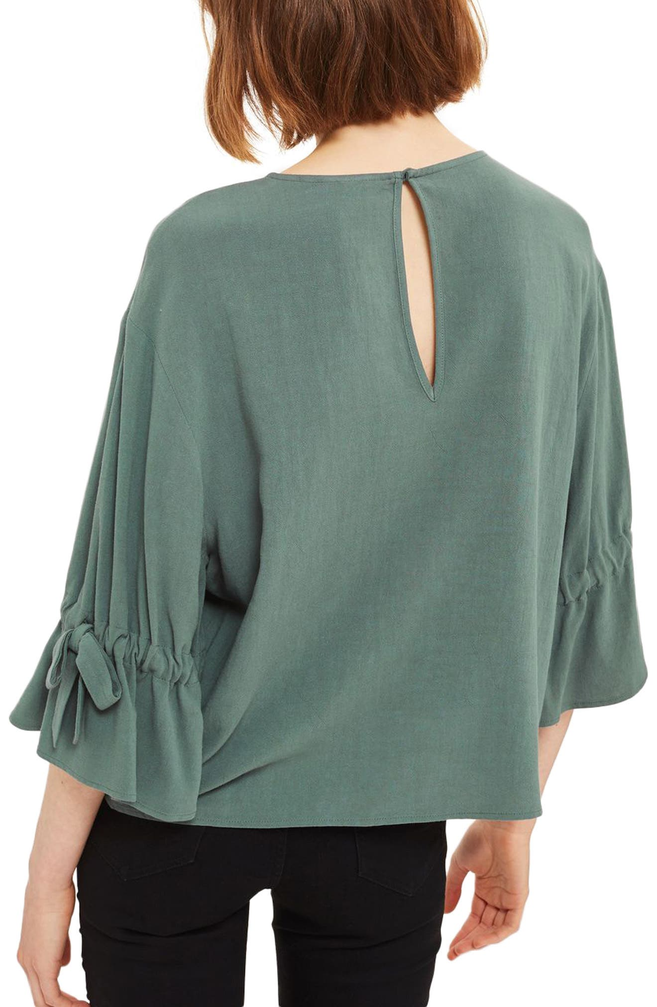 Molly Tie Sleeve Blouse,                             Alternate thumbnail 3, color,                             Petrol