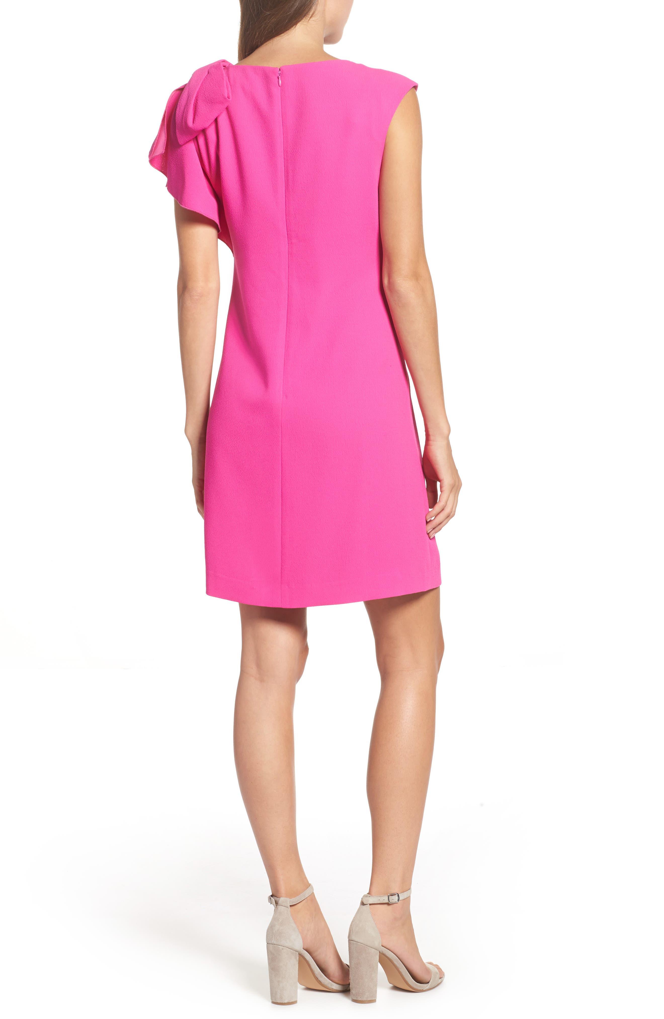 Ruffle Sleeve Shift Dress,                             Alternate thumbnail 3, color,                             Pink