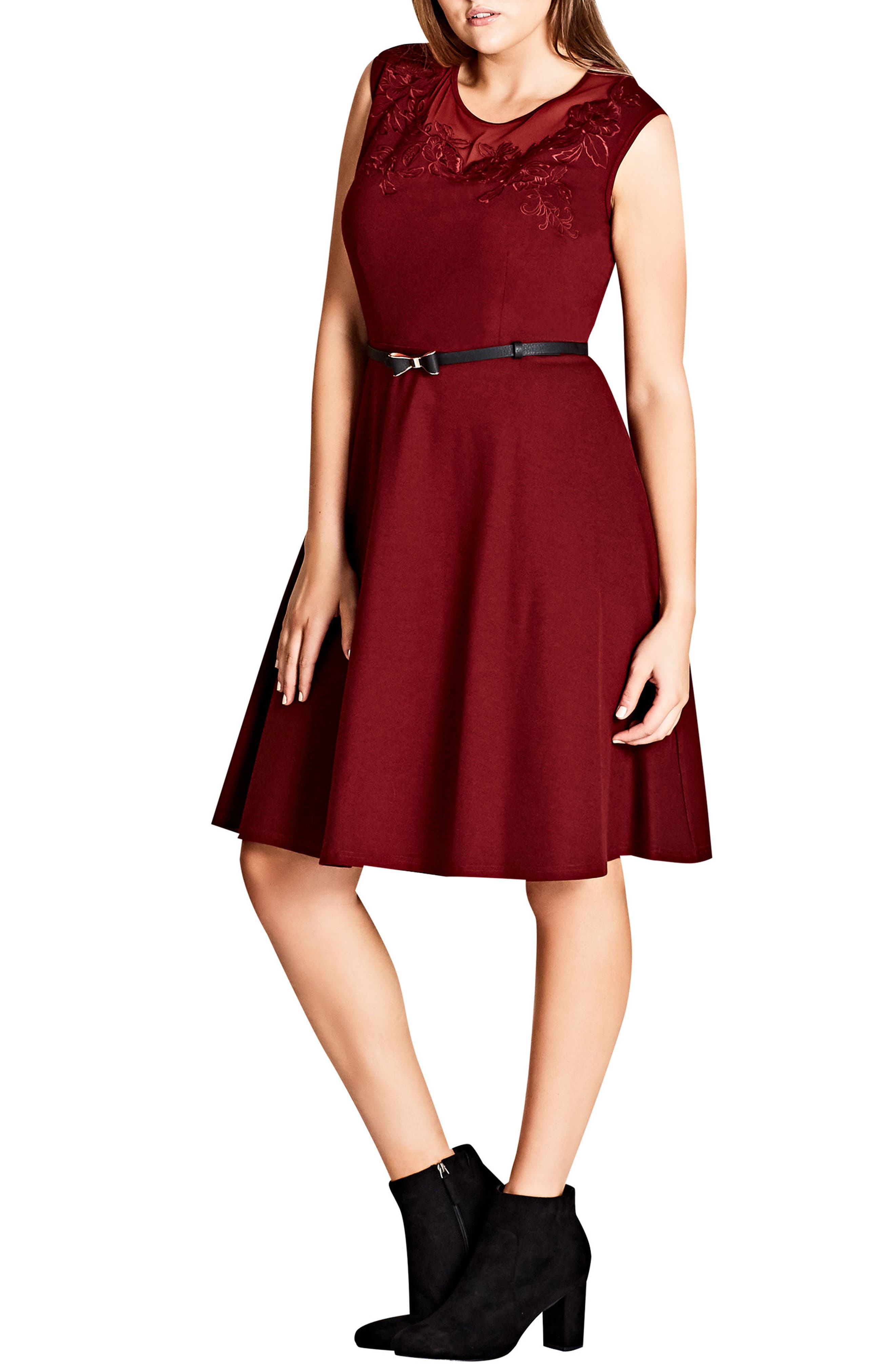 City Chic Embroidered Flower Fit-and-Flare Dress (Plus Size)
